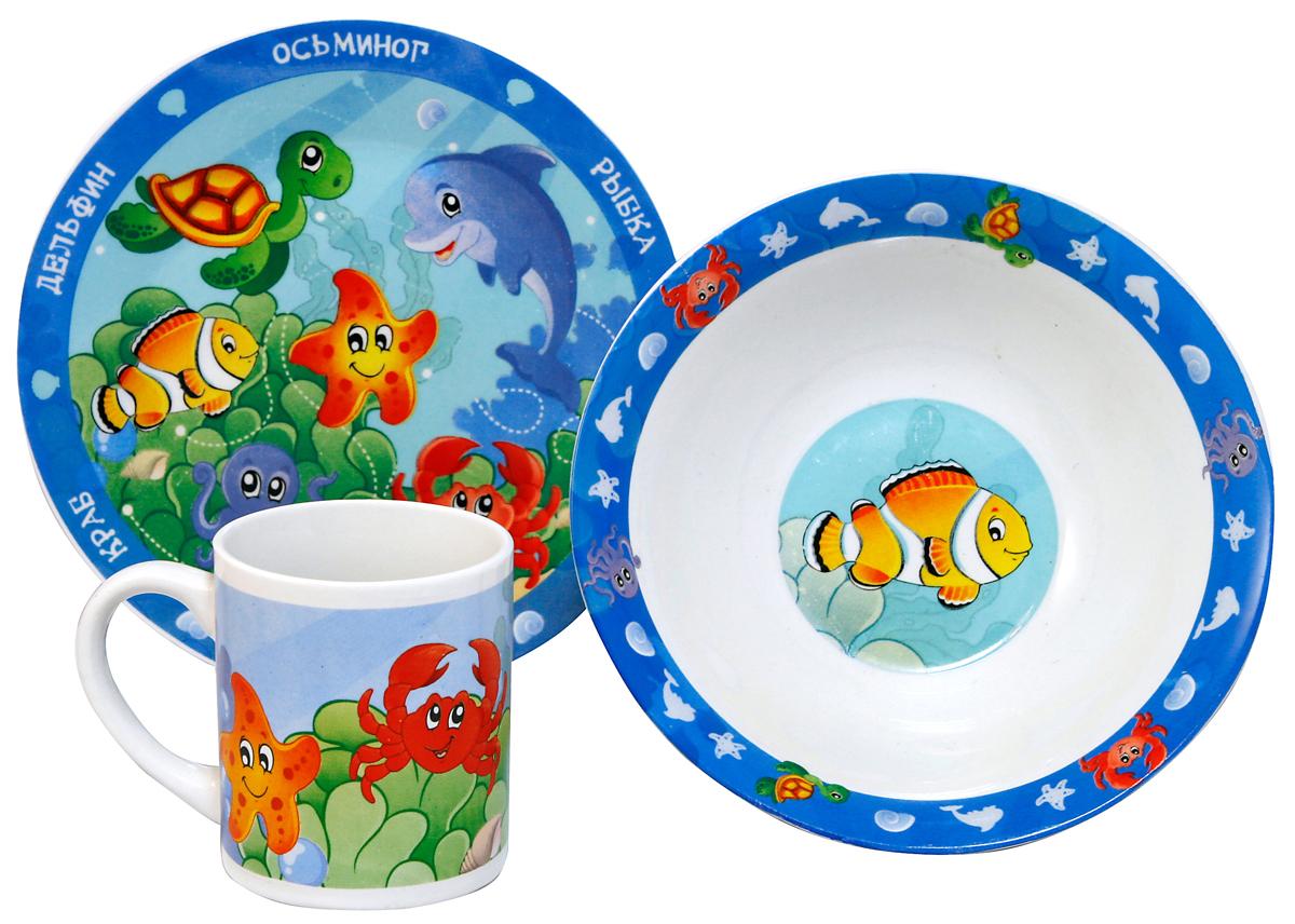 МФК-профит Набор детской посуды Морские животные 3 предмета17406_оранжеыйНабор МФК-профит Морские животные 3 предмета: тарелка 19 см, миска 18 см, кружка 240 мл.