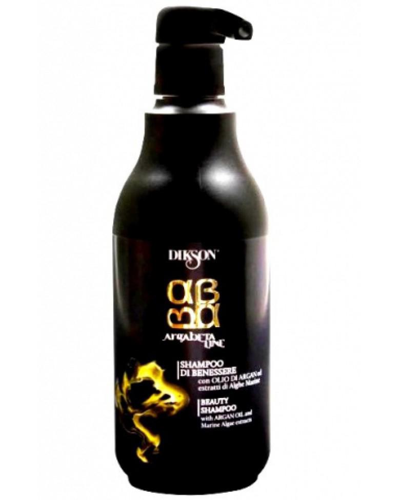 Dikson ArgaBeta Питательный шампунь для волос на основе масла Арганы с экстрактом морских водорослей Beauty Shampoo 500 млFS-00897Питательный шампунь ArgaBeta Beauty Shampoo от Dikson обладает мягким очищающим и восстанавливающим действием. Устраняет структурные деформации волос, оживляет кожу головы. Уникальный состав масла Арганы и микронизированных водорослей обладает мощным укрепляющим и регенеративным эффектом. Морские водоросли содержат аминокислоты и жирные кислоты, минеральные вещества и витамины. Рекомендован в качестве ухода для любого типа волос, особенно для поврежденных и окрашенных.