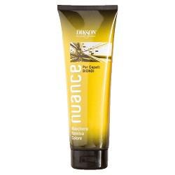Dikson Nuance Оттеночная маска для светлых окрашенных и натуральных волос Maschera Raviva Color for Blond Hair 250 млFS-00897Поддерживает стойкость цвета и усиливает блеск окрашенных и натуральных волос, а также волос после мелирования. Без оксида, аммиака и п-фенилендиамина. Маска быстро и эффективно улучшает структуру, придает глянцевый блеск и делает волосы более послушными в укладке. Одновременно она тонирует волосы, делая цвет более ровным и красивым. Рекомендована для окрашенных волос и волос после мелирования. Активные компоненты: цетеариловый спирт, пропилен гликоль, кондиционер, отдушка, смягчающее средство, консервант. Результат: волосы приобретают приятные теплые оттенки.
