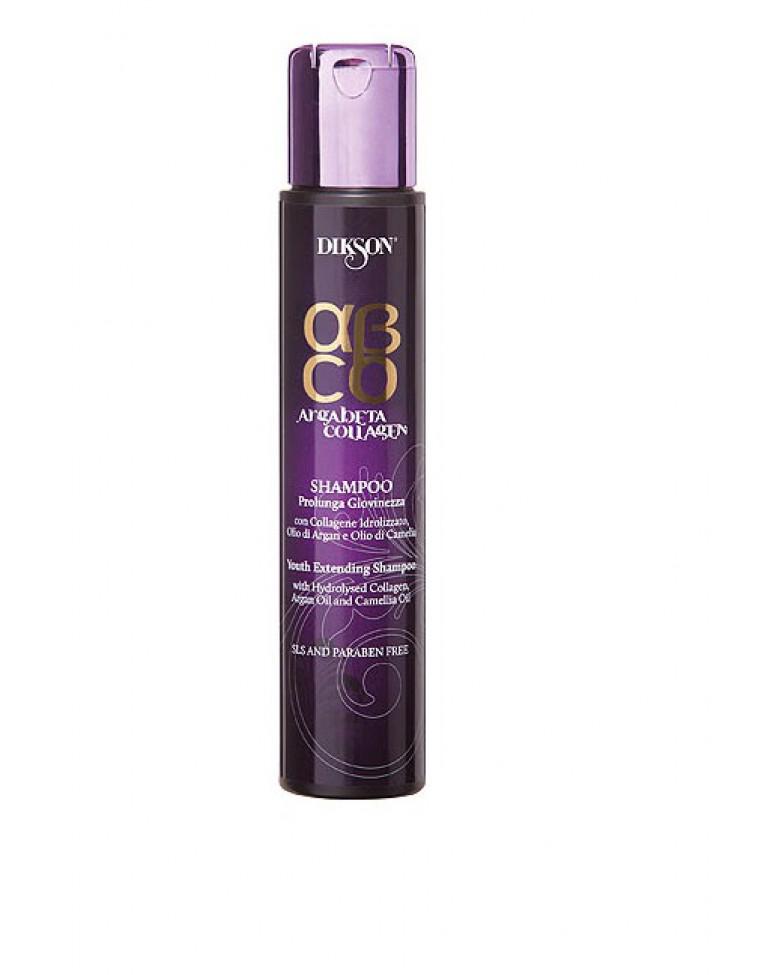 Dikson ArgaBeta Collagen - Шампунь Продление молодости 250 мл (безсульфатный)FS-36054Аккуратно удаляет загрязнения с волос и кожи, глубоко питает их, усиливает структуру. Коллаген в составе увеличивает срок жизни волоса, увеличивает объем, плотность, нивелирует стресс. Масло арганы - классический антиоксидант, который питает кожу головы. Масла камелии возвращает волосам блеск, дарит сияние и мягкостью. Без лаурилсульфата натрия, отсутствуют парабены в составе.