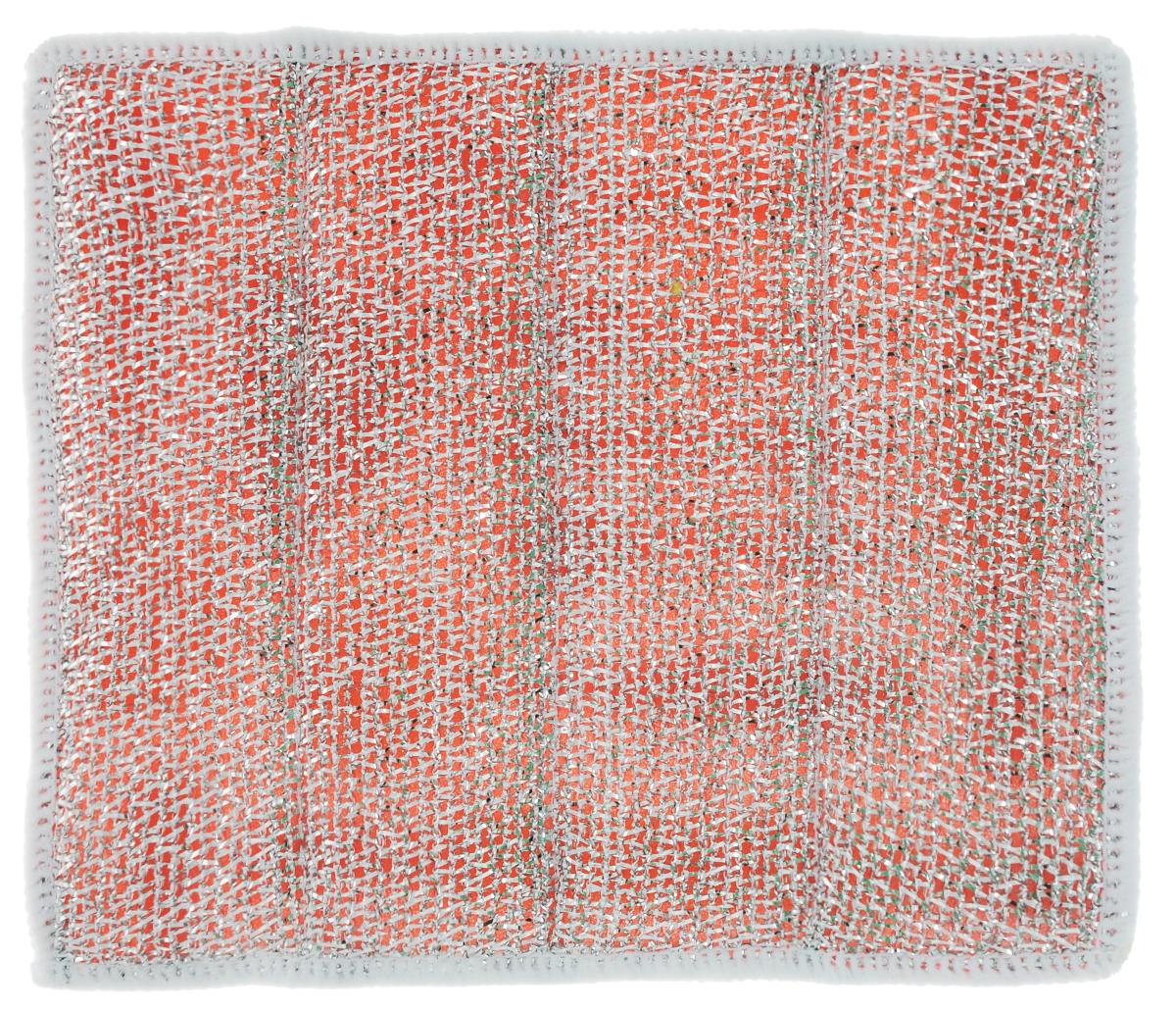 Салфетка для стеклокерамических плит Хозяюшка Мила, цвет: серебристый, красный, белый, 21 х 17 см5002Салфетка для стеклокерамических плит Хозяюшка Мила станет незаменимым помощником на кухне. Жесткая сторона из фольгированного материала предназначена для очистки сильно загрязненных поверхностей. Мягкая сторона из микрофибры прекрасно впитывает влагу, удаляет грязь и пыль с деликатных поверхностей. Размер салфетки: 21 см х 17 см.