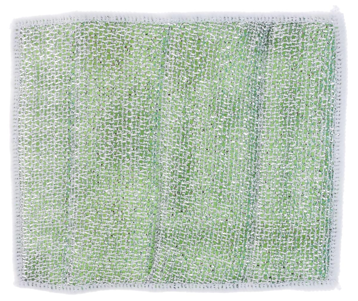 Салфетка для стеклокерамических плит Хозяюшка Мила, цвет: серебристый, зеленый, белый, 21 х 17 смVCA-00Салфетка для стеклокерамических плит Хозяюшка Мила станет незаменимым помощником на кухне. Жесткая сторона из фольгированного материала предназначена для очистки сильно загрязненных поверхностей. Мягкая сторона из микрофибры прекрасно впитывает влагу, удаляет грязь и пыль с деликатных поверхностей. Размер салфетки: 21 см х 17 см.