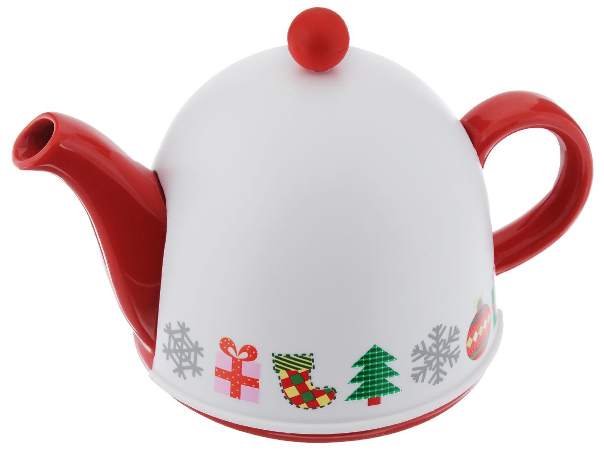 Чайник заварочный Mayer & Boch, с термо-колпаком, 800 мл24309Заварочный чайник Mayer & Boch изготовлен из высококачественной глазурованной керамики. Чайник снабжен удобной ручкой и крышкой. Специальный сетчатый фильтр задерживает чаинки и предотвращает их попадание в чашку. В комплекте - термо-колпак, выполненный из пластика белого цвета. Внутренняя поверхность колпака отделана теплосберегающей тканью, благодаря которому чай дольше остается горячим. Колпак имеет специальные выемки для носика и ручки. Чай в таком чайнике быстрее заваривается, дольше остается горячим, а полезные и ароматические вещества полностью сохраняются в напитке. Яркий стильный заварочный чайник эффектно украсит стол к чаепитию и станет его неизменным атрибутом. Диаметр чайника (по верхнему краю): 6 см. Диаметр основания чайника: 14 см. Высота чайника (без учета крышки): 9,5 см. Высота ситечка: 6 см. Высота колпака: 14 см.