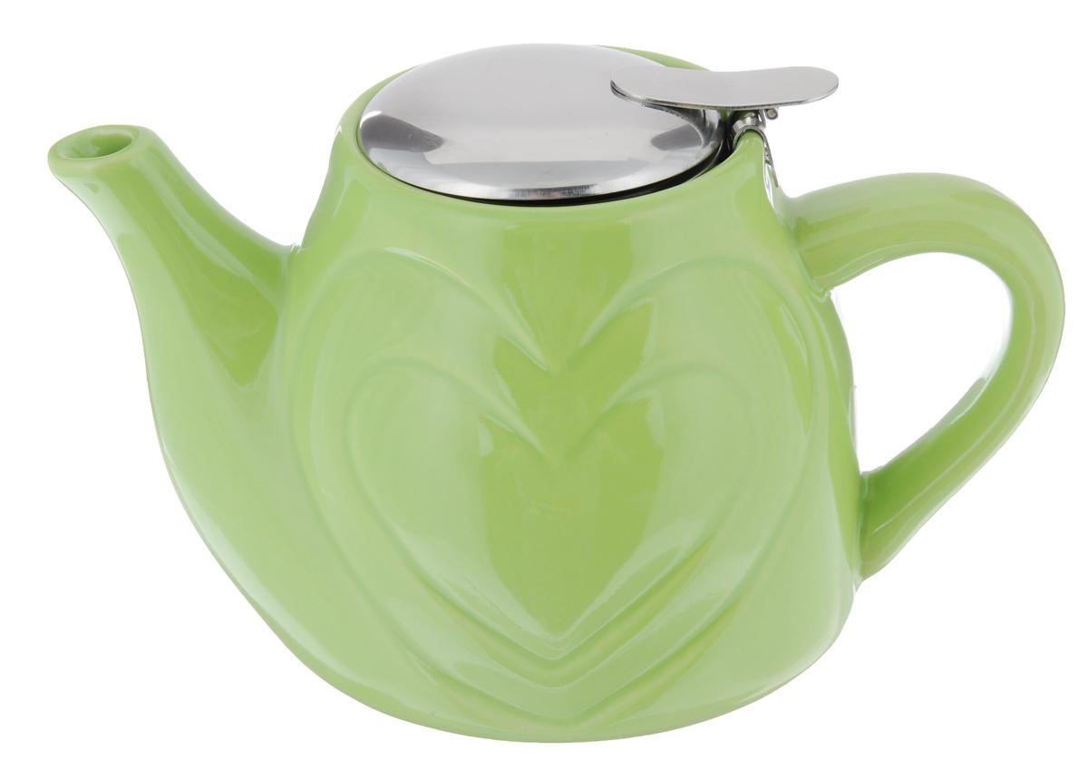 Чайник заварочный Loraine, с фильтром, цвет: зеленый, 500 мл115510Заварочный чайник Loraine изготовлен из высококачественной керамики и нержавеющей стали. Изделие оснащено фильтром, благодаря которому задерживает чаинки и предотвращает попадание их в чашку.Глянцевый корпус обеспечивает легкую очистку. Чайник поможет заварить крепкий ароматный чай и великолепно украсит стол к чаепитию. Диаметр чайника (по верхнему краю): 7,5 см. Высота чайника (без учета крышки): 10,5 см.Высота фильтра: 6 см.
