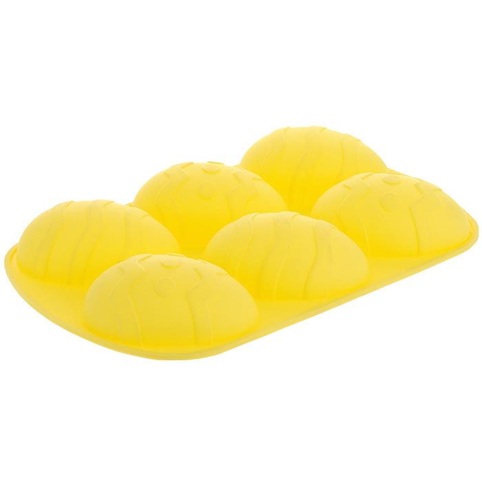 Форма для выпечки Marmiton Пасхальное яйцо, силиконовая, цвет: желтый, 6 ячеек16133_ желтыйФорма для выпечки Marmiton Пасхальное яйцо, выполненная из силикона, предназначена для приготовления выпечки, льда, конфет и желе. Не взаимодействует с продуктами питания и не впитывает запахи как при нагревании, так и при заморозке. Форма обладает естественными антипригарными свойствами. Готовую выпечку или мармелад вынимать легко и просто.С такой формой вы всегда сможете порадовать своих близких оригинальным кулинарным шедевром. Материал устойчив к фруктовым кислотам, может быть использован в духовках и микроволновых печах (выдерживает температуру от 240°C до - 40°C). Можно мыть и сушить в посудомоечной машине.Размер формы для выпечки: 26,5 х 17 х 3,5 см. Размер ячейки: 6,5 х 9,3 х 3,5 см.