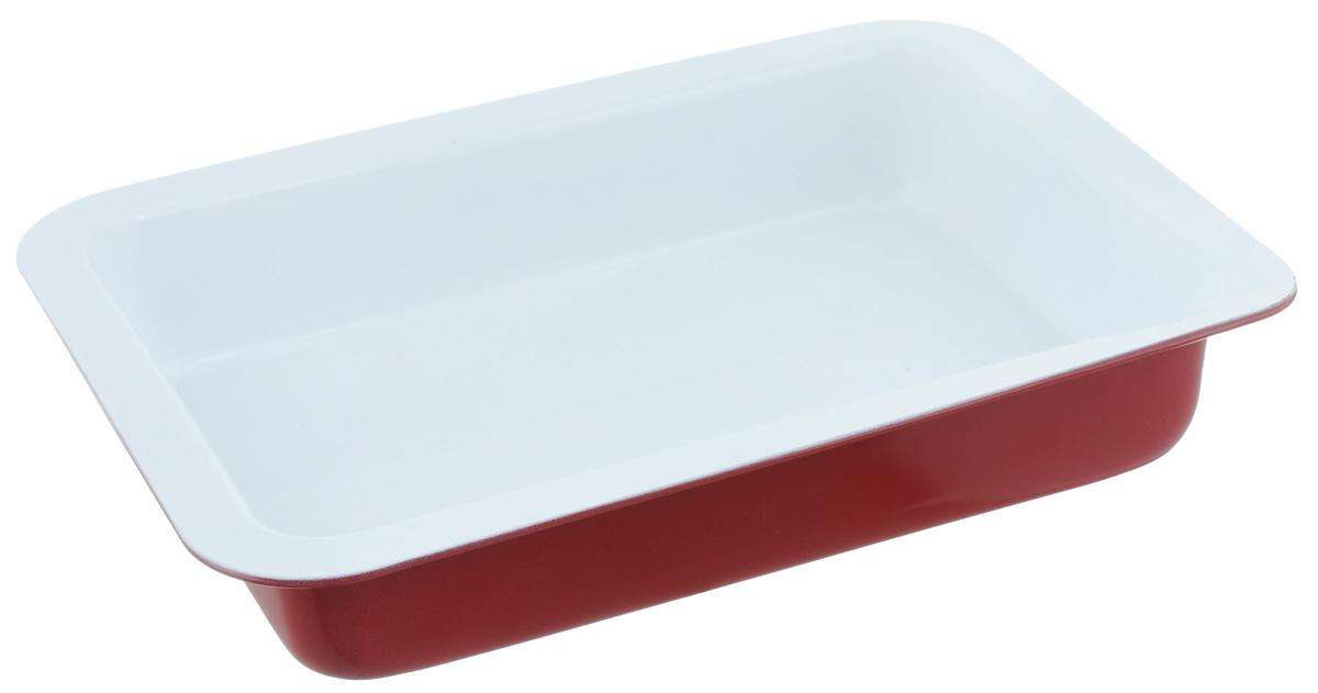 Форма для запекания Premier Housewares Eco Cook, прямоугольная, цвет: красный, 31 х 23,7 х 5,5 смFS-91909Прямоугольная форма для выпечки Premier Housewares Eco Cook выполнена из алюминия и снабжена керамическим покрытием, что обеспечивает прочность и долговечность. Керамическое покрытие абсолютно безвредно, не выделяет СО2, PFOA, PTFE. Форма равномерно и быстро прогревается, что способствует лучшему пропеканию пищи. Данную форму легко чистить. Готовая выпечка без труда извлекается из формы.Форма подходит для использования в духовке с максимальной температурой 280°С.Перед каждым использованием форму необходимо смазать небольшим количеством масла. Чтобы избежать повреждений антипригарного покрытия, не используйте металлические или острые кухонные принадлежности. Можно мыть в посудомоечной машине.Размер формы: 31 х 23,7 х 5,5 см.