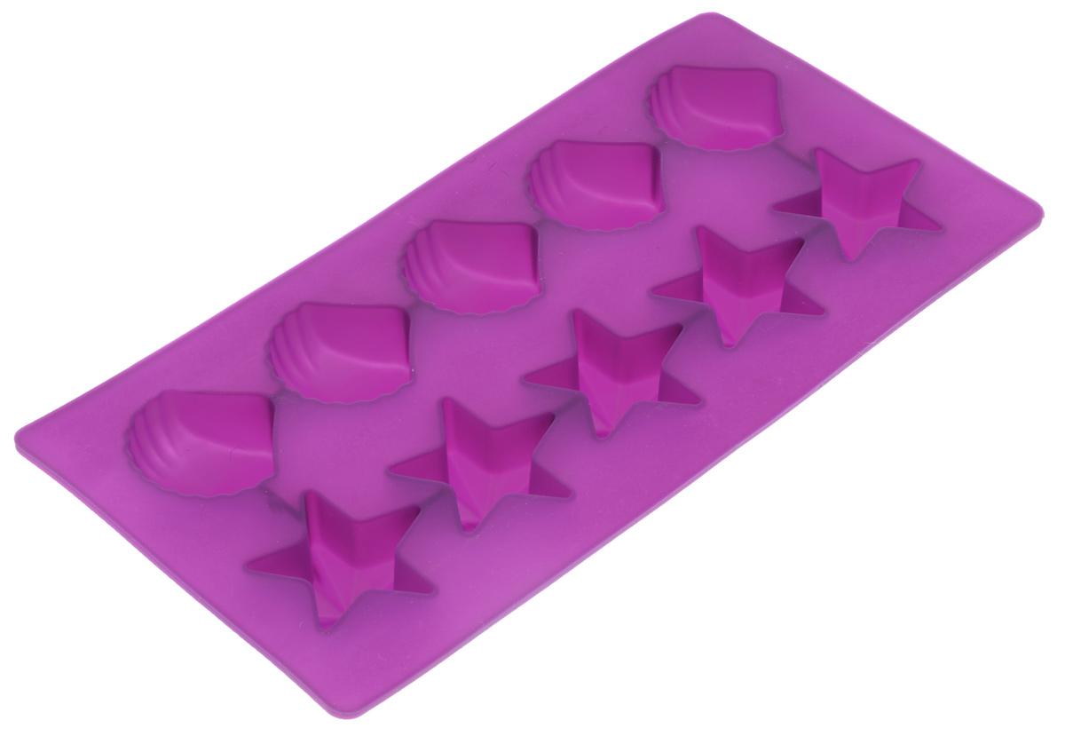 Форма для льда Marmiton Звездочки и ракушки, цвет: фиолетовый, 10 ячеек16002Форма Marmiton Звездочки и ракушки выполнена из силикона и предназначена для приготовления выпечки, мармелада и льда. На одном листе расположено 10 ячеек в виде звездочек и ракушек. Благодаря тому, что форма изготовлена из силикона, готовый десерт вынимать легко и просто.Материал устойчив к фруктовым кислотам, к воздействию низких и высоких температур. Не взаимодействует с продуктами питания и не впитывает запахи. Силикон абсолютно безвреден для здоровья. Чтобы достать лед, эту форму не нужно держать под теплой водой или использовать нож. Подходит для использования в духовке и микроволновой печи. Можно мыть в посудомоечной машине.Общий размер формы: 21 х 10,5 х 2,5 см. Количество ячеек: 10 шт.Размер ячеек (в виде ракушек): 3,5 х 3,5 х 2 см.Размер ячеек (в виде звездочек): 4 х 3,5 х 2 см.