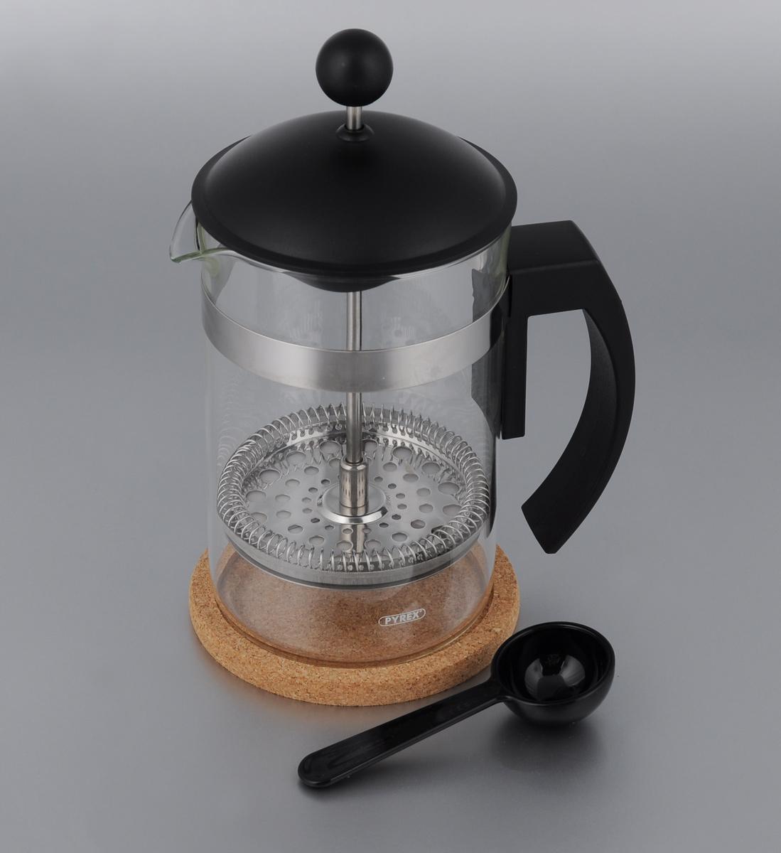 Френч-пресс Vitesse, с мерной ложкой, с подставкой, 850 млVS-1660 NEWФренч-пресс Vitesse поможет вам в приготовлении ароматного кофе или чая.Колба выполнена из термостойкого стекла, что позволяет наблюдать процесс настаивания и заваривания напитка, а также обеспечивает гигиеничность посуды. Внешний корпус, выполненный из нержавеющей стали, долговечен, прочен и устойчив к деформации и образованию царапин. Френч-пресс имеет удобную ручку, носик, а также мерную ложку, выполненную из пластика.Уникальный дизайн полностью соответствует последним модным тенденциям в создании предметов бытовой техники. В комплект входит пробковая подставка, которая обеспечит безопасное использование френч-пресса. Можно использовать в посудомоечной машине.Высота френч-пресса (без учета крышки): 15,5 см. Диаметр основания: 9 см. Диаметр (по верхнему краю): 9,5 см.Объем кофеварки: 850 мл.Длина ложки: 11 см.Размер подставки: 11 х 11 х 0,9 см.