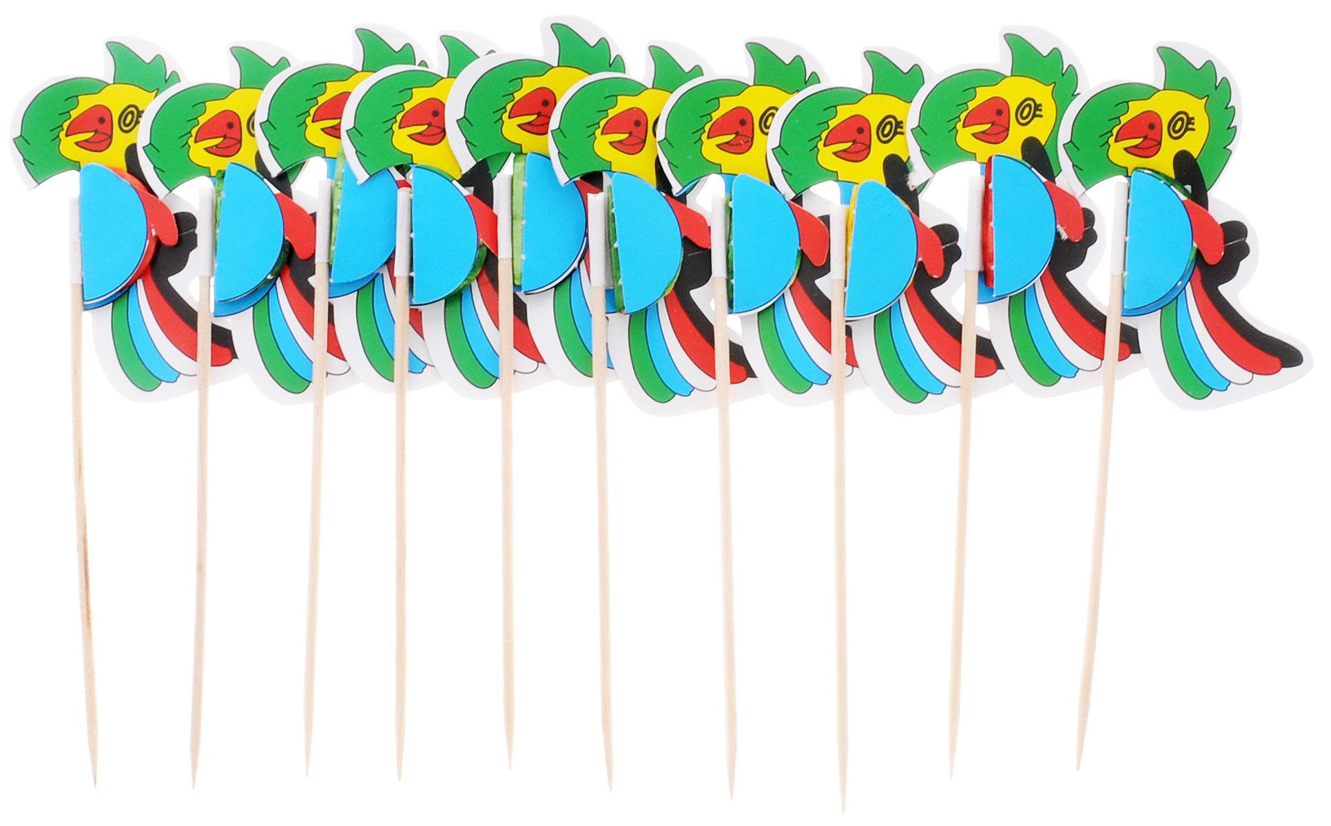 Action! Шпажки Птицы для праздничной сервировки 10 шт набор шпажек для канапе обезьянки 6шт с подставкой