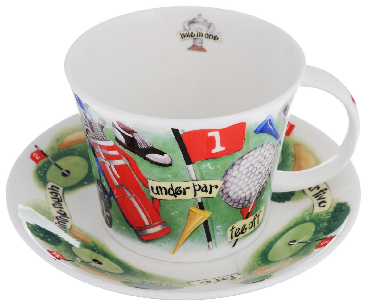 Чайная пара Roy Kirkham Гольф, 2 предмета95339Чайная пара Roy Kirkham Гольф состоит из чашки и блюдца, изготовленных из тонкостенного костяного фарфора высшего качества, отличающегося необыкновенной прочностью и небольшим весом. Изделия оформлены цветным рисунком. Яркий дизайн, несомненно, придется вам по вкусу.Чайная пара Roy Kirkham Гольф украсит ваш кухонный стол, а также станет замечательным подарком к любому празднику.Объем чашки: 500 мл.Диаметр чашки по верхнему краю: 10,5 см.Высота чашки: 8,5 см.Диаметр блюдца: 17 см.Высота блюдца: 2,5 см.