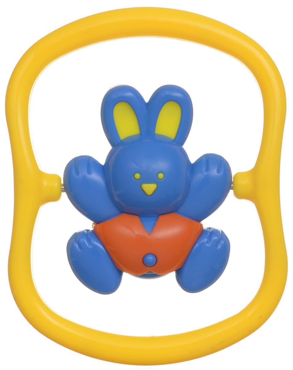 Малышарики Погремушка Зайка на качелях цвет синий желтый