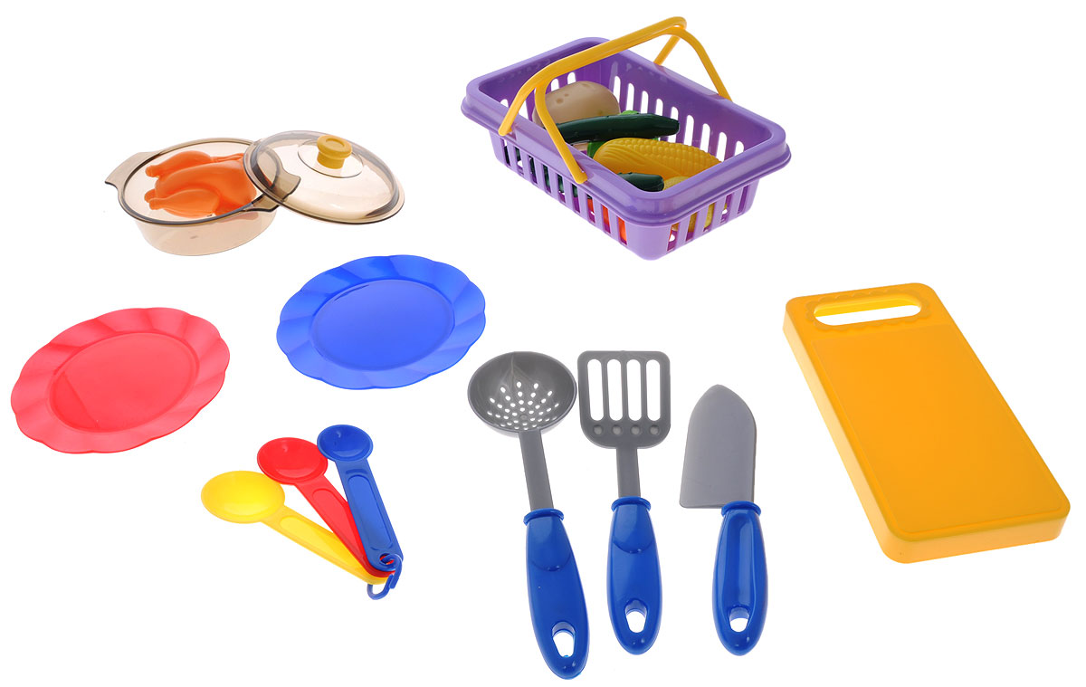 ABtoys Игрушечный кухонный набор с продуктами 19 предметов altacto игровой кухонный набор чудесный магазин 8 предметов