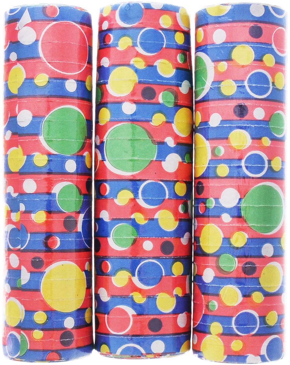 """Серпантин Action! """"Кружочки"""", изготовленный из бумаги красного, синего, желтого и зеленого цветов и декорированный изображениями кружочков, придаст праздничную атмосферу любому торжеству."""