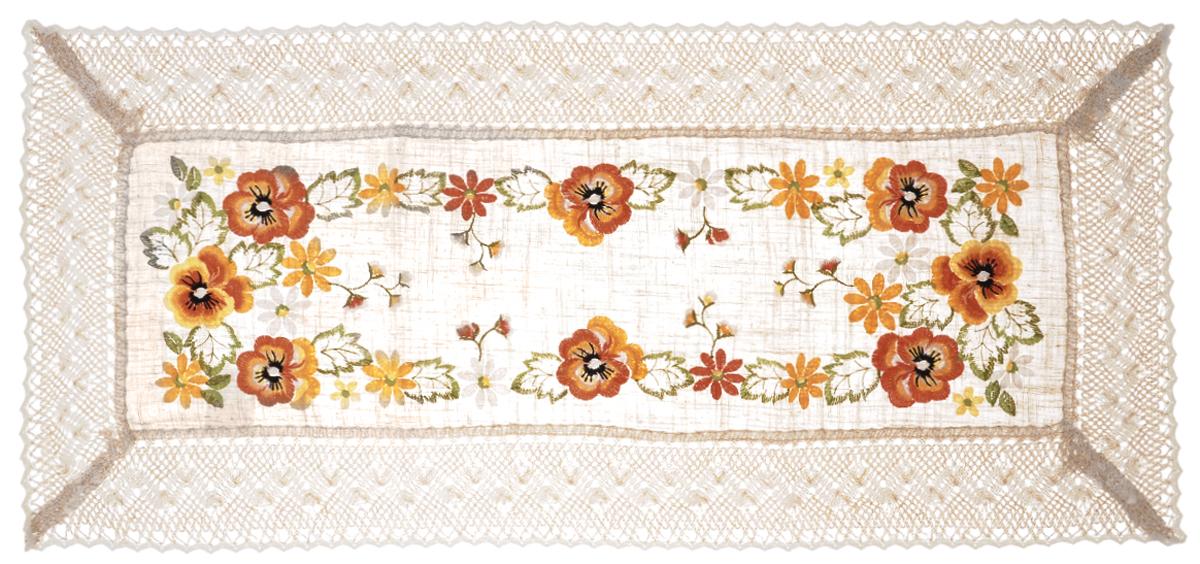 Дорожка для декорирования стола Schaefer, прямоугольная, 40 х 90 см. 07438-200AMC-00070Прямоугольная дорожка Schaefer изготовлена из высококачественного полиэстера и оформлена по краю отделочной тесьмой. Фактура ткани выполнена под натуральный лен, вышивка ручная. Вы можете использовать дорожку для декорирования стола, комода или журнального столика.Благодаря такой дорожке вы защитите поверхность мебели от воды, пятен и механических воздействий, а также создадите атмосферу уюта и домашнего тепла в интерьере вашей квартиры. Изделия из искусственных волокон легко стирать: они не мнутся, не садятся и быстро сохнут, они более долговечны, чем изделия из натуральных волокон. Изысканный текстиль от немецкой компании Schaefer - это красота, стиль и уют в вашем доме. Дорожка органично впишется в интерьер любого помещения, а оригинальный дизайн удовлетворит даже самый изысканный вкус. Дарите себе и близким красоту каждый день!