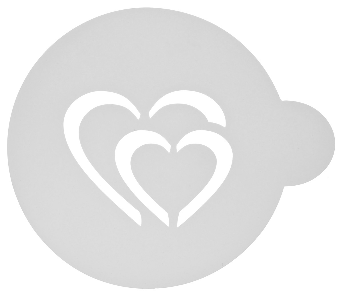 Трафарет на кофе и десерты Леденцовая фабрика Сердце двойное, цвет: белый, диаметр 10 см54 009312Трафарет Леденцовая фабрика Сердце двойноепредставляет собой пластину с прорезями, черезкоторые пищевая краска (сахарная пудра, какао,шоколад, сливки, корица, дробленый орех)наносится на поверхность кофе, молочныхкоктейлей, десертов. Изделие изготовлено изматового пищевого пластика 250 мкм и пригоднодля контакта с пищевыми продуктами. Трафаретмногоразовый. Побалуйте себя и ваших близких красивооформленным кофе. Диаметр трафарета: 10 см.