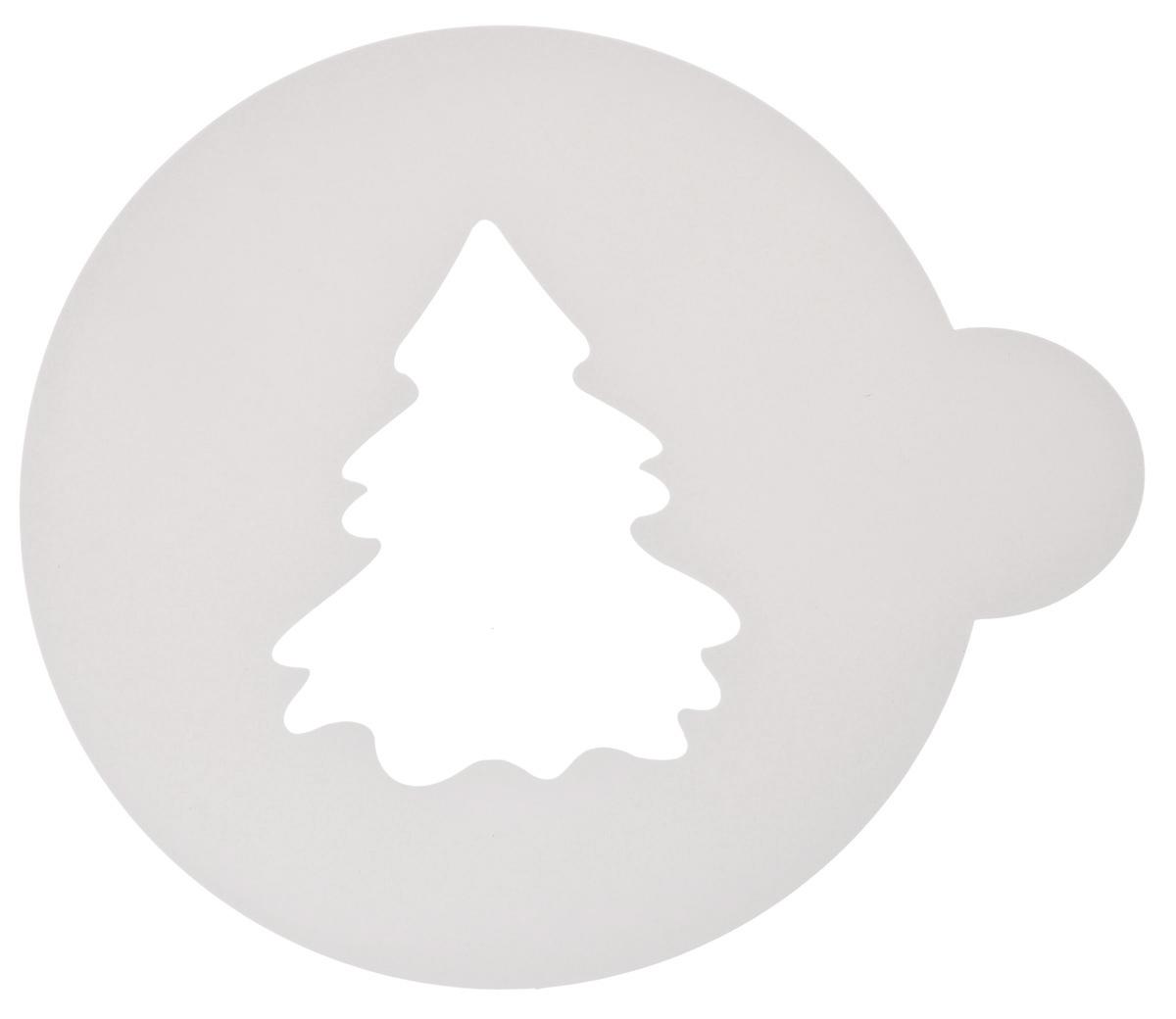 Трафарет на кофе и десерты Леденцовая фабрика Елочка, цвет: белый, диаметр 10 смFS-91909Трафарет Леденцовая фабрика Елочкапредставляет собой пластину с прорезями, черезкоторые пищевая краска (сахарная пудра, какао,шоколад, сливки, корица, дробленый орех)наносится на поверхность кофе, молочныхкоктейлей, десертов. Изделие изготовлено изматового пищевого пластика 250 мкм и пригоднодля контакта с пищевыми продуктами. Трафаретмногоразовый. Побалуйте себя и ваших близких красивооформленным кофе. Диаметр трафарета: 10 см.
