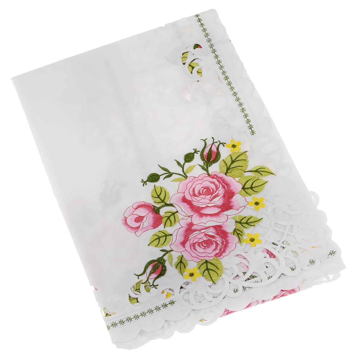Скатерть Schaefer, квадратная, цвет: белый, розовый, желтый, 100 х 100 см. 07562-102AMC-00070Скатерть Schaefer выполнена из полиэстера и оформлена шелковой цветочной вышивкой. Изделия из полиэстера легко стирать: они не мнутся, не садятся и быстро сохнут, они более долговечны, чем изделия из натуральных волокон.Скатерть Schaefer не останется не без внимания ваших гостей, а вас будет ежедневно радовать своим позитивом.