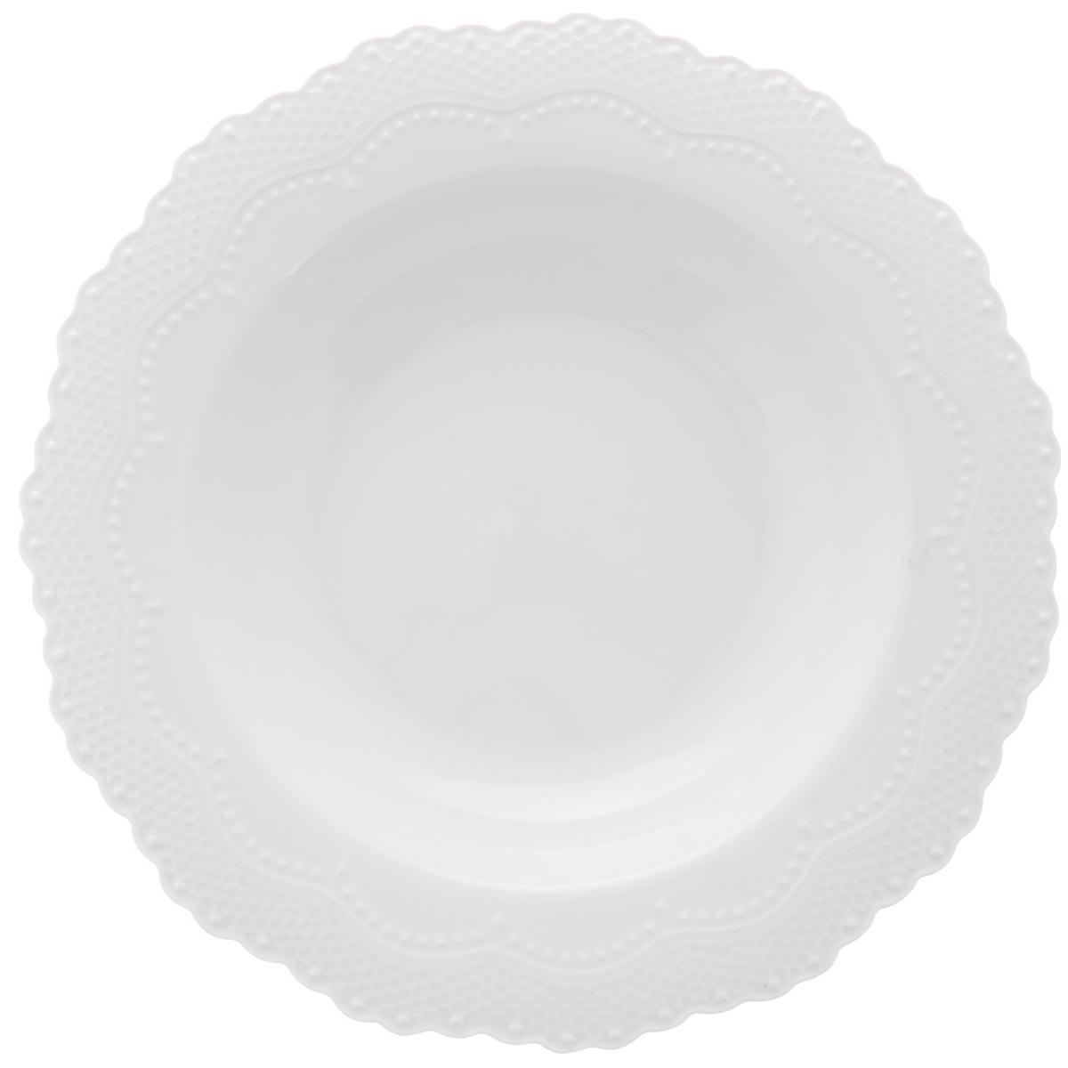 Тарелка суповая Walmer Vivien, цвет: белый, диаметр 22 см54 009312Суповая тарелка Walmer Vivien, изготовленная из высококачественного фарфора, имеет изысканный внешний вид. Яркий дизайн придется по вкусу и ценителям классики, и тем, кто предпочитает утонченность. Тарелка Walmer Vivien идеально подойдет для сервировки стола и станет отличным подарком к любому празднику.Можно мыть в посудомоечной машине. Диаметр (по верхнему краю): 22 см.
