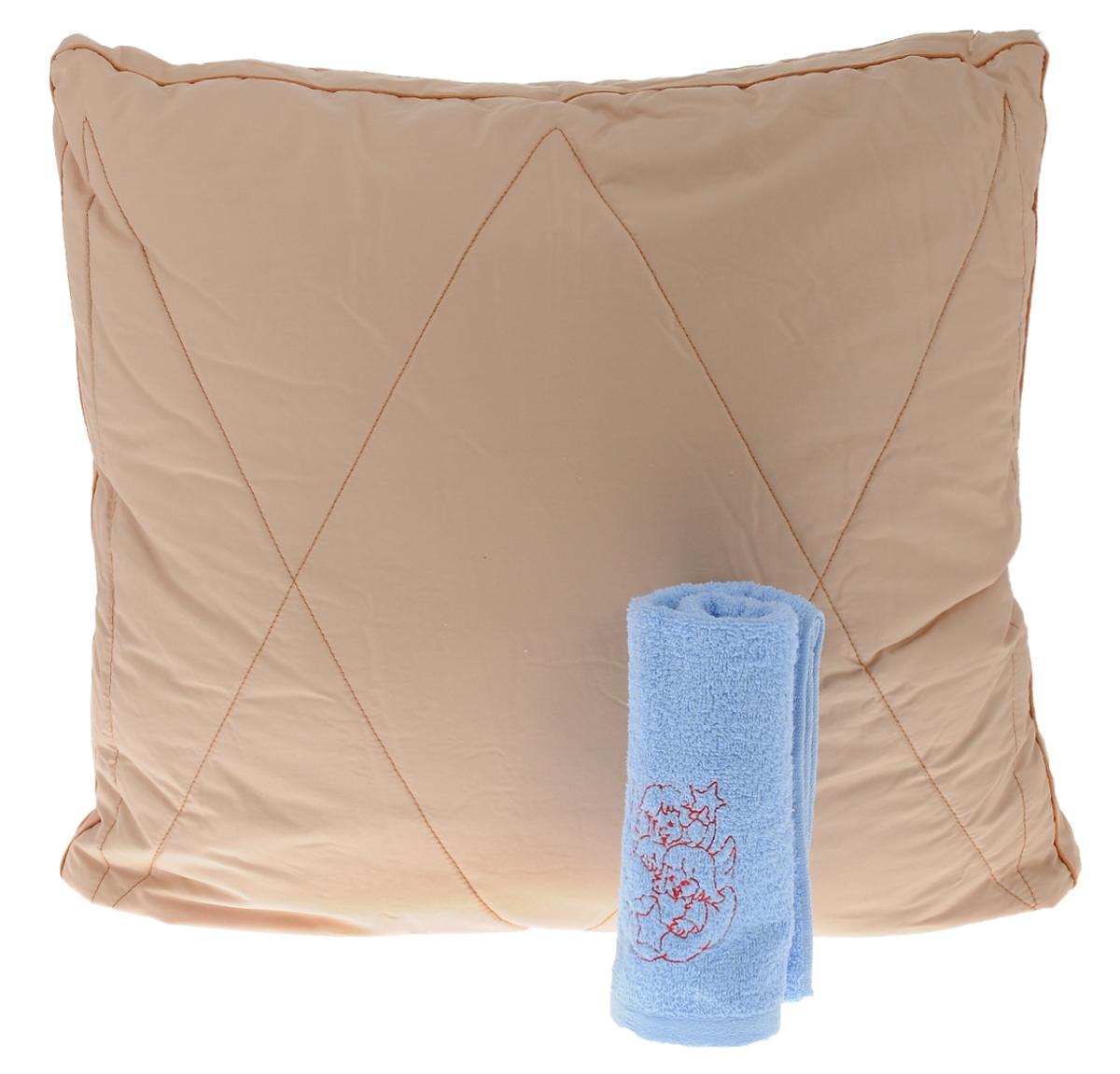 Подушка Primavelle Nadia, 68 х 68 см + полотенце махровое, 34 х 70 см17102024Подушка Primavelle Nadia подарит вам необычайную мягкость и комфорт во время сна. Чехол выполнен из однотонного сатина (100% хлопок) с тиснением. Внешнее наполнение подушки верблюжья шерсть 95%, вискоза 5%, внутреннее наполнение лебяжий пух (100% полиэстер). Лебяжий пух, является аналогом натурального пуха и представляет собой сверхтонкое волокно нового поколения. Благодаря этому подушка очень мягкая и воздушная, не накапливает пыль и запахи. Важным преимуществом является гипоаллергенность наполнителя, поэтому подушка отлично подходит как взрослым, так и детям.Верблюжья шерсть - подшерсток верблюжат в возрасте до одного года, который вычесывается вручную. Верблюжья шерсть при этом лучше удерживает тепло и обеспечивает идеальную терморегуляцию во время сна.Изделие декорировано атласным кантом.Мягкая и комфортная подушка Primavelle Nadia не оставит равнодушными тех, кто ценит красоту и комфорт. Подушка упакована в пластиковую сумку-чехол, закрывающуюся на застежку-молнию.Размер подушки: 68 х 68 см. Материал чехла: Сатин (100% хлопок). Материал наполнителя: лебяжий пух (100% полиэстер), верблюжья шерсть 95%, вискоза 5%. В комплект также входит махровое полотенце, выполненное из 100% натурального хлопка. Размер полотенца: 34 х 70 см.
