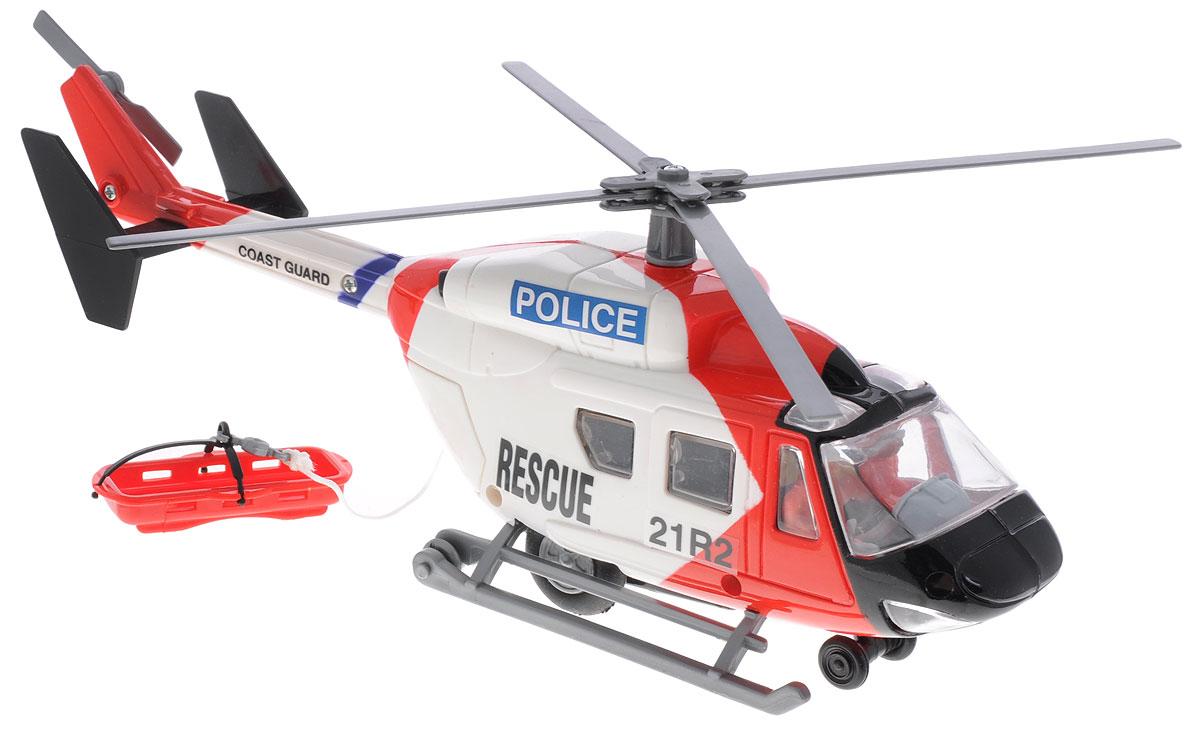 """Яркий вертолет Dickie Toys """"Полиция"""" с двумя пилотами захватит внимание вашего ребенка и надолго останется его любимой игрушкой. Модель является миниатюрной копией реального вертолета и имеет инерционный механизм движения по поверхности. При движении лопасти вертолета вращаются. В открывающемся заднем грузовом отсеке находится кабельная лебедка, которой можно управлять вручную. Вертолет оснащен колесами и полозьями, что позволяет ему приземляться на различных поверхностях. Порадуйте своего ребенка таким замечательным подарком!"""