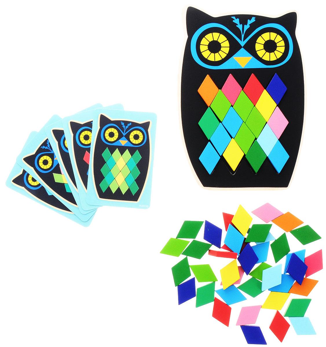 """Мозаика Djeco """"Сова"""" станет увлекательной развивающей игрушкой для каждого малыша. В комплекте ребенок найдет основу в виде деревянной совы с пустым пространством в центре, а также множество разноцветных ромбиков, которыми он должен заполнить совенка согласно карточкам с заданиями. Ребенок может следовать инструкциям и примерам с заданиями или же заполнить сову так, как ему подскажет фантазия. Игра прекрасно развивает фантазию и воображение ребенка, детскую моторику, логическое мышление и сообразительность. Набор изготовлен из безопасных высококачественных материалов."""