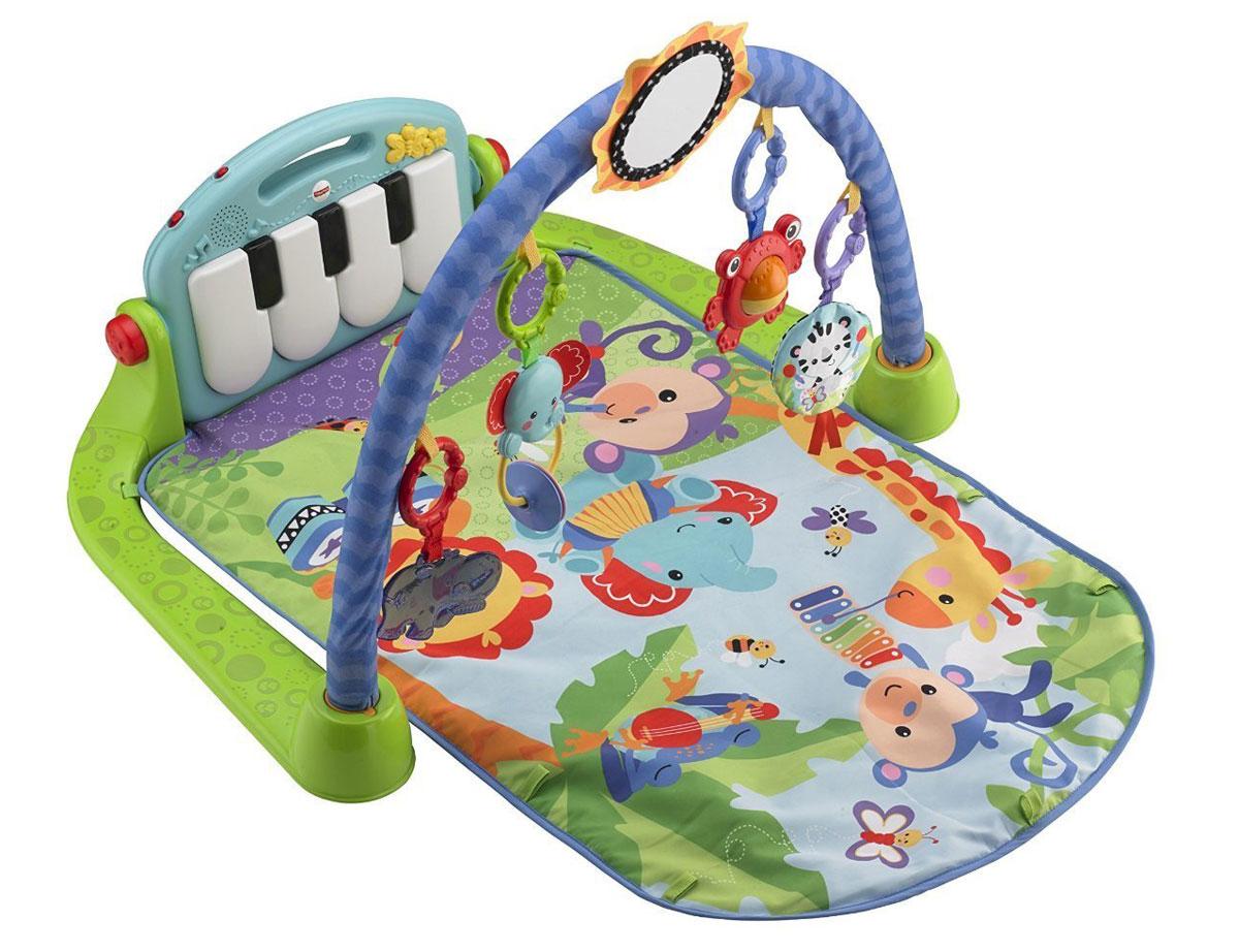 """Игровой коврик Fisher Price """"Пианино"""" растет вместе с ребенком! Коврик поощряет любознательность и тягу к новым открытиям: пять игрушек для увлекательных игр и большое зеркало стимулируют малыша хлопать и брать игрушки в руки. Музыка, веселые игрушки и яркие узоры развивают чувства восприятия ребенка. Клавиши пианино помогают укреплять навыки общей моторики, когда малыш тянется и пинает игрушку ножками. Пианино снимается, чтобы с ним можно было играть в любом месте. У него 2 режима: для короткой и продолжительной игры (до 15 минут). В числе игрушек грызунок Гиппопотам, погремушка Слоник, Лягушка с вращающимся валиком и многое другое! Рекомендуется докупить 3 батарейки типа АА (товар комплектуется демонстрационными)."""