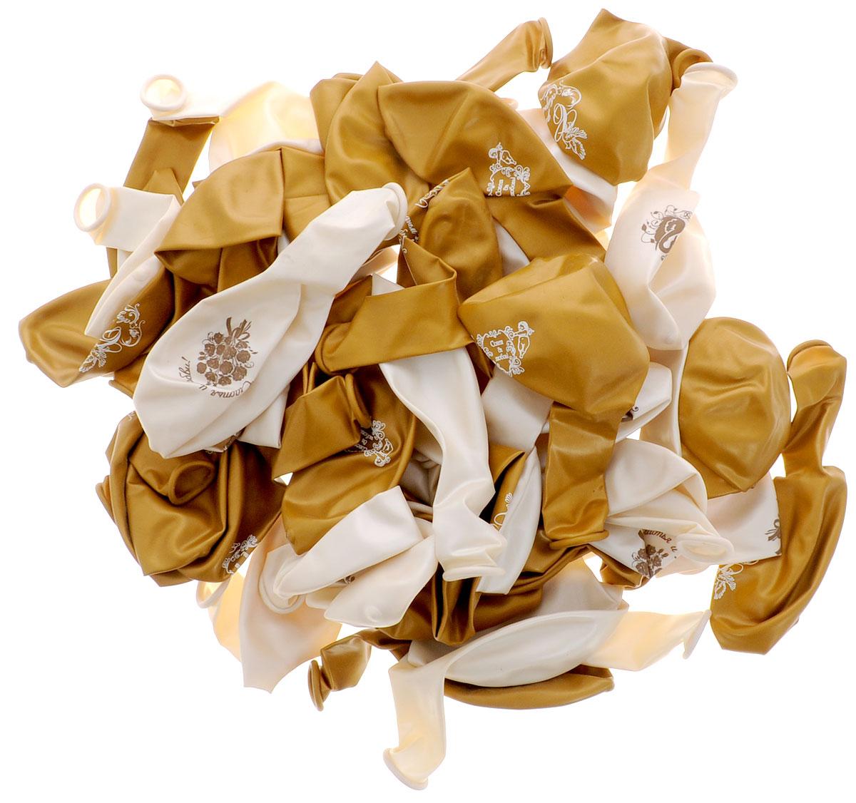 """Набор воздушных шаров Action! """"С днем свадьбы!"""" поможет вам весело и необычно украсить помещение к свадебному празднику. Изготовлены шарики из натурального латекса. Набор включает в себя 50 шариков белого и золотистого цветов с поздравлениями для такого торжественного дня, как свадьба. Положительные эмоции и праздничное настроение будут на высоте!"""
