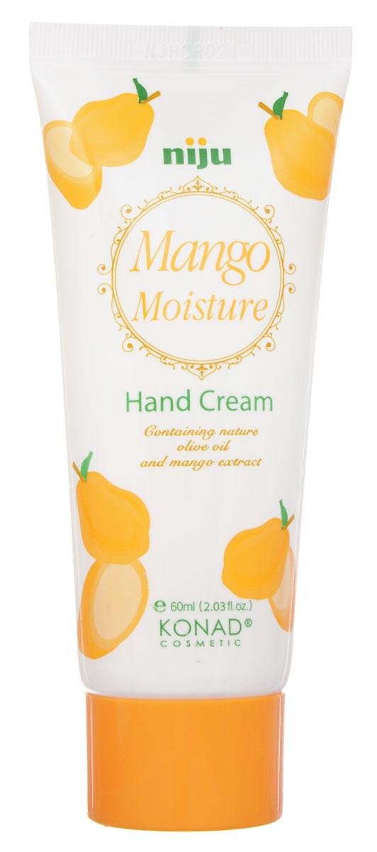 Konad Крем для рук увлажняющий с экстрактом Манго niju Moisture hand cream - mango 60 мл9101Увлажняющий крем для рук Манго 50 mlКрем для рук с ароматом манго сохраняет вашу кожу влажной и упругой, защищает от вредного воздействия окружающий среды. Крем содержит натуральное оливковое масло, экстракт манго, пчелиный воск и масло Ши. Способ применения: Наносить крем на очищенную кожу до полного впитывания