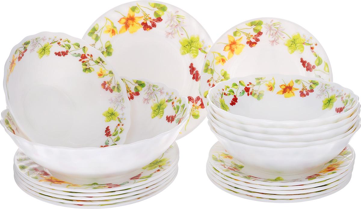 Сервиз столовый МФК-профит Оттавиа, 19 предметов115510Столовый сервиз МФК-профит Оттавиа изготовлен из стеклокерамики. Предметы набора украшены изображениями листьев и цветов. В набор входит: - тарелка суповая - 6 шт, - тарелка обеденная - 6 шт, - тарелка десертная - 6 шт, - салатник. Яркий красочный столовый сервиз прекрасно подходит для ежедневногоиспользования. Он изысканно оформит сервировку стола и станет незаменимым налюбой кухне.Диаметр суповой тарелки: 18 см. Высота суповой тарелки: 5 см.Диаметр обеденной тарелки: 20 см. Высота обеденной тарелки: 1,5 см.Диаметр десертной тарелки: 17,5 см. Высота десертной тарелки: 1,5 см.Диаметр салатника: 22,5 см.Высота салатника: 6,5 см.