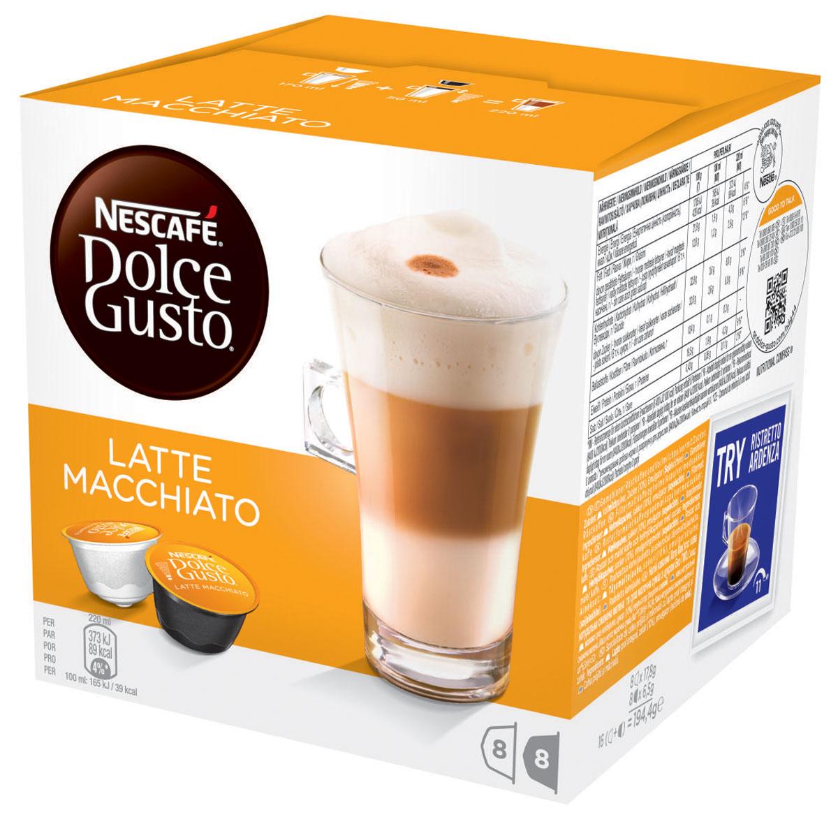 Nescafe Dolce Gusto Latte Macchiato кофе в капсулах, 16 шт0120710Nescafe Dolce Gusto Latte Macchiato – перевернутый вверх дном латте с небольшой изюминкой. Великолепный, мягкий, со сладковатыми оттенками, капсульный Latte Macchiato превращается в удивительный напиток, который будет восхищать вас каждый раз.Молоко цвета бисквита в качестве нижнего слоя, переходящее в более темный слой кофе, создаст атмосферу настоящего праздника. Latte Macchiato с итальянского переводится как подкрашенное молоко. Эспрессо наливается поверх молока, создавая своеобразный слоистый узор, который ни с чем не спутаешь, и затем переходит в изысканную молочную пену. Latte Macchiato украшается элегантной темной кофейной точкой в качестве легко узнаваемой подписи. Вам не нужно далеко ходить, чтобы выпить такой красивый и вкусный кофе, потому что ваша кофемашина Nescafe Dolce Gusto способна создать напиток на уровне кофейни прямо у вас на кухне. Latte Macchiato поможет вам насладиться минутами для себя или же вызовет восхищение в компании друзей.В состав набора входят:8 кофейных капсул (кофе натуральный жареный молотый)8 молочных капсул (сухое цельное молоко, сахар, эмульгатор (соевый лецитин))