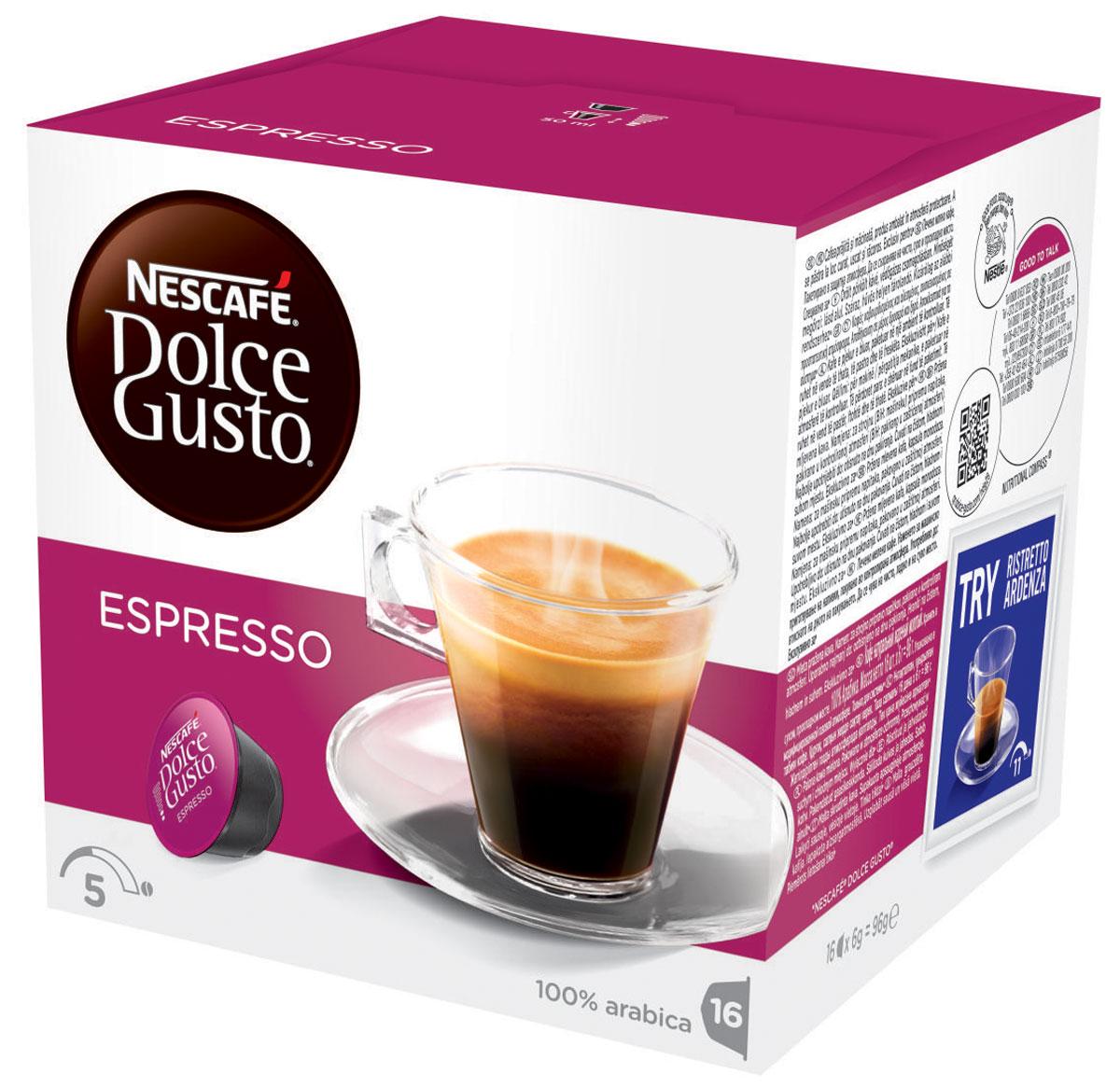 Nescafe Dolce Gusto Espresso кофе в капсулах, 16 шт0120710Крепкий аромат и насыщенный вкус кофе с бархатистой пенкой – изумительное впечатление от Эспрессо. Кофе в капсулах Nescafe Dolce Gusto Espresso – это самый классический вкус. Идеальный напиток для любого времени суток, будет ли чашечка эспрессо прекрасным дополнением к завтраку или завершением ужина с друзьями.