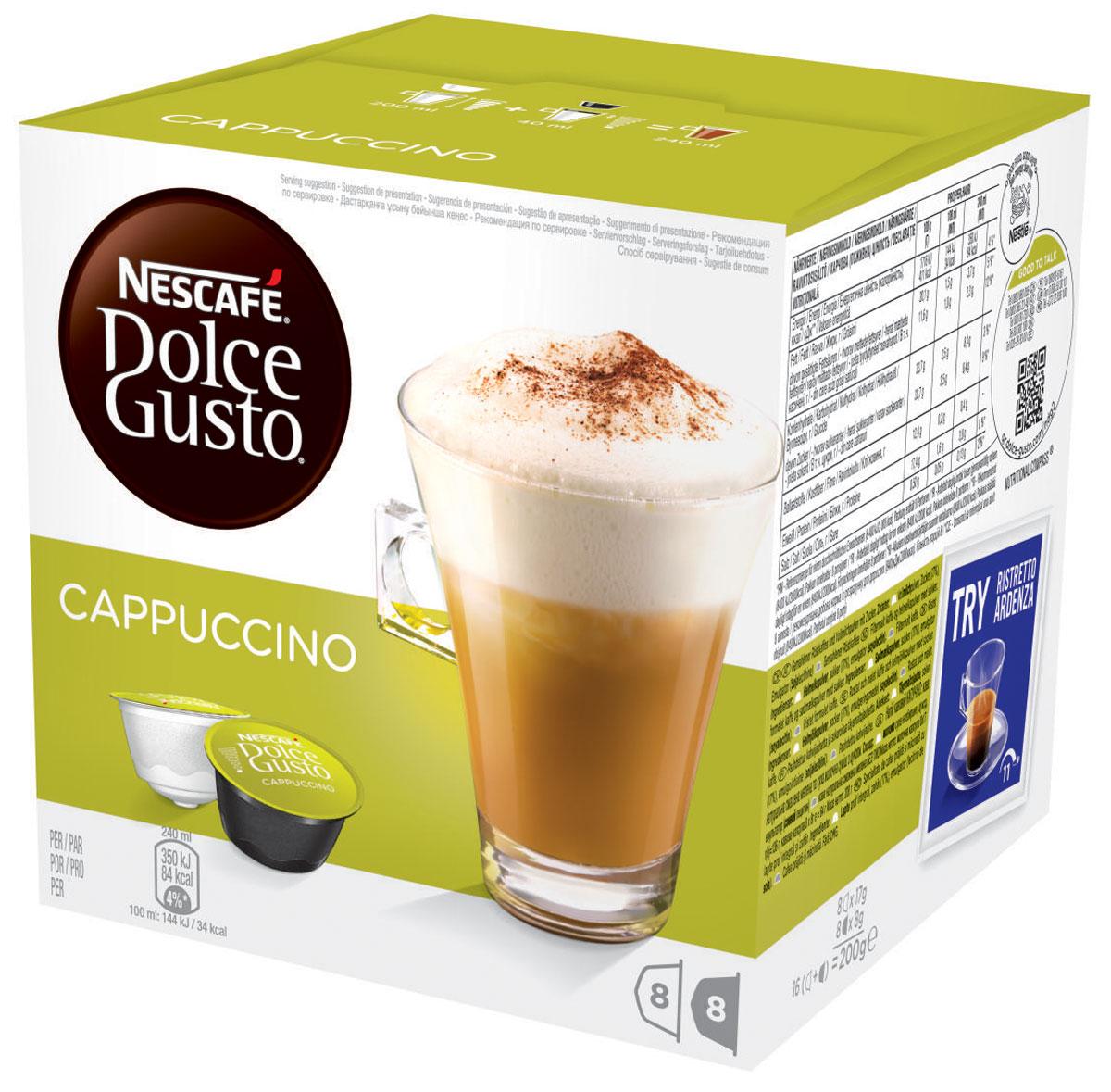 Nescafe Dolce Gusto Cappuccino кофе в капсулах, 16 шт0120710Несомненный образец классика – великолепный капучино всегда в фаворе у всех любителей кофе. Глубокий вкус эспрессо в сочетании с бархатистой пеной и фактурным молоком делают этот напиток великолепным удовольствием снова и снова, по какому бы случаю его ни пили. Гармония темного обжаренного кофе и молока означает, что вам просто нечего добавить в это великолепный напиток. Менее молочный, чем латте, но более воздушный, чем эспрессо... Мягкая текстура капучино – это то, что вы не сможете забыть, если хоть раз попробуете его. Идеальный капучино многослоен, но расслабляет, он легко пьется, а температура как раз позволяет сохранить незабываемый вкус. Благодаря этому он стал основным напитком в коллекции капсул для любого владельца кофемашины Nescafe Dolce Gusto: популярный среди друзей и близких и абсолютно идеальный для отдыха и расслабления, когда вам нужен перерыв.В состав входят:8 капсул с натуральным жареным молотым кофе8 капсул с сухим цельным молоком, сахаром, эмульгатором (соевый лецитин)