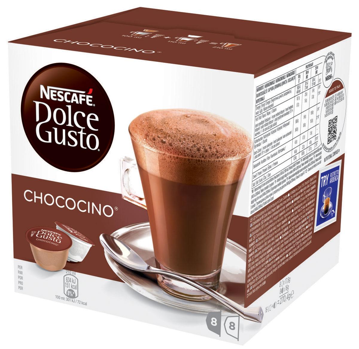 Nescafe Dolce Gusto Chococino горячий шоколад в капсулах, 16 шт0120710Вкус Nescafe Dolce Gusto Chococino так же хорош, как и его название. Приятный для глаза и еще более приятный на вкус – баланс какао и воздушной молочной пенки создает самое настоящее волшебство. Это сочетание переносит вас на удивительный уровень сладости: нет необходимости добавлять что-то еще в этот роскошное успокаивающее лакомство. Наслаждайтесь чокочино холодным утром, морозными днями или в любое другое время, когда вам хочется сменить свой обычный горячий напиток. Его шоколадный запах почти столь же непреодолим, сколь и деликатен. Он произведет впечатление на любого вашего гостя.В состав входят:8молочных капсул: молоко сухое цельное, сахар (10%), эмульгатор (соевый лецитин).Изготовлено с использованием сухого молока.В сухой молочной смеси: массовая доля молочного жира 22,5 %, сахароза 10 г в 100 г.)8 какао капсул: cахар, какао-порошок, эмульгатор (соевый лецитин), ароматизатор (ванилин), корица.Какао не менее 32%. Продукт может содержать незначительное количество молока.