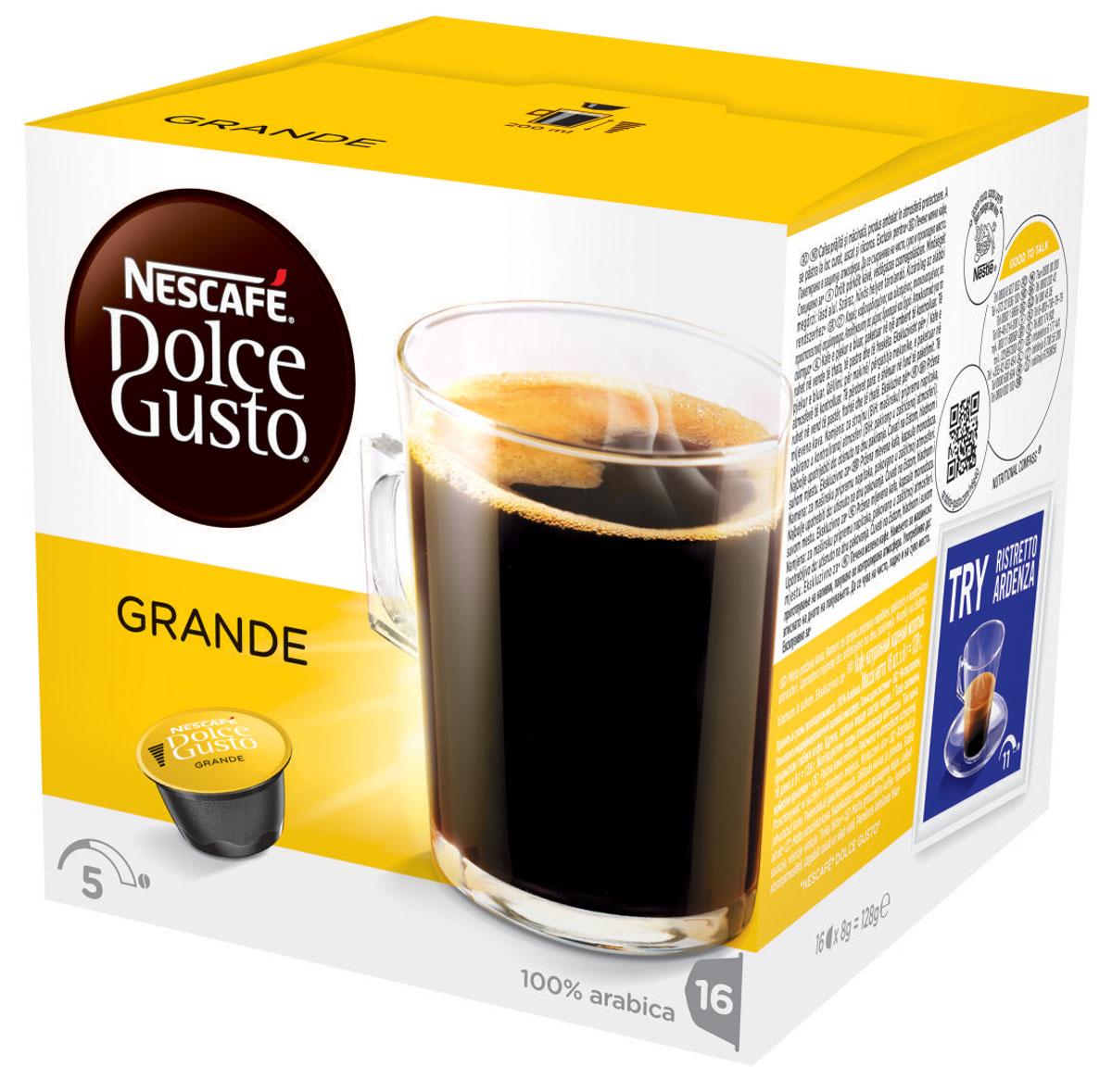 Nescafe Dolce Gusto Grande кофе в капсулах, 16 шт0120710Слегка более насыщенный Nescafe Dolce Gusto Grande – это следующий шаг от классического американо. Мягкий и, безусловно, доставляющий удовольствие, капсульный гранде изготовлен из 100% зерен Арабики средней прожарки и идеально подходит как для первой утренней чашки, так и для употребления в течение дня.