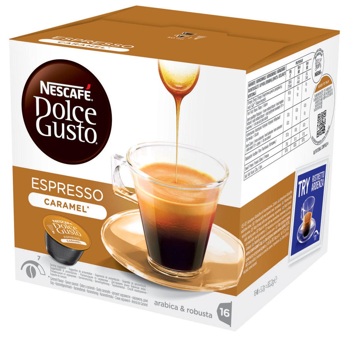 Nescafe Dolce Gusto Espresso Caramel кофе в капсулах, 16 шт0120710Nescafe Dolce Gusto Espresso Caramel – нечто особенное. Если вы обожаете эспрессо или хотите попробовать что-то мягкое, нежное и в то же время насыщенное, думаем, вам понравится эспрессо со вкусом карамели. Этот капсульный кофе с ненавязчивыми карамельными нотками абсолютно фантастично впишется в ваш день. Карамельный эспрессо просто блестяще подходит для любого случая – от ежедневного утреннего ритуала до самого особенного вечера.