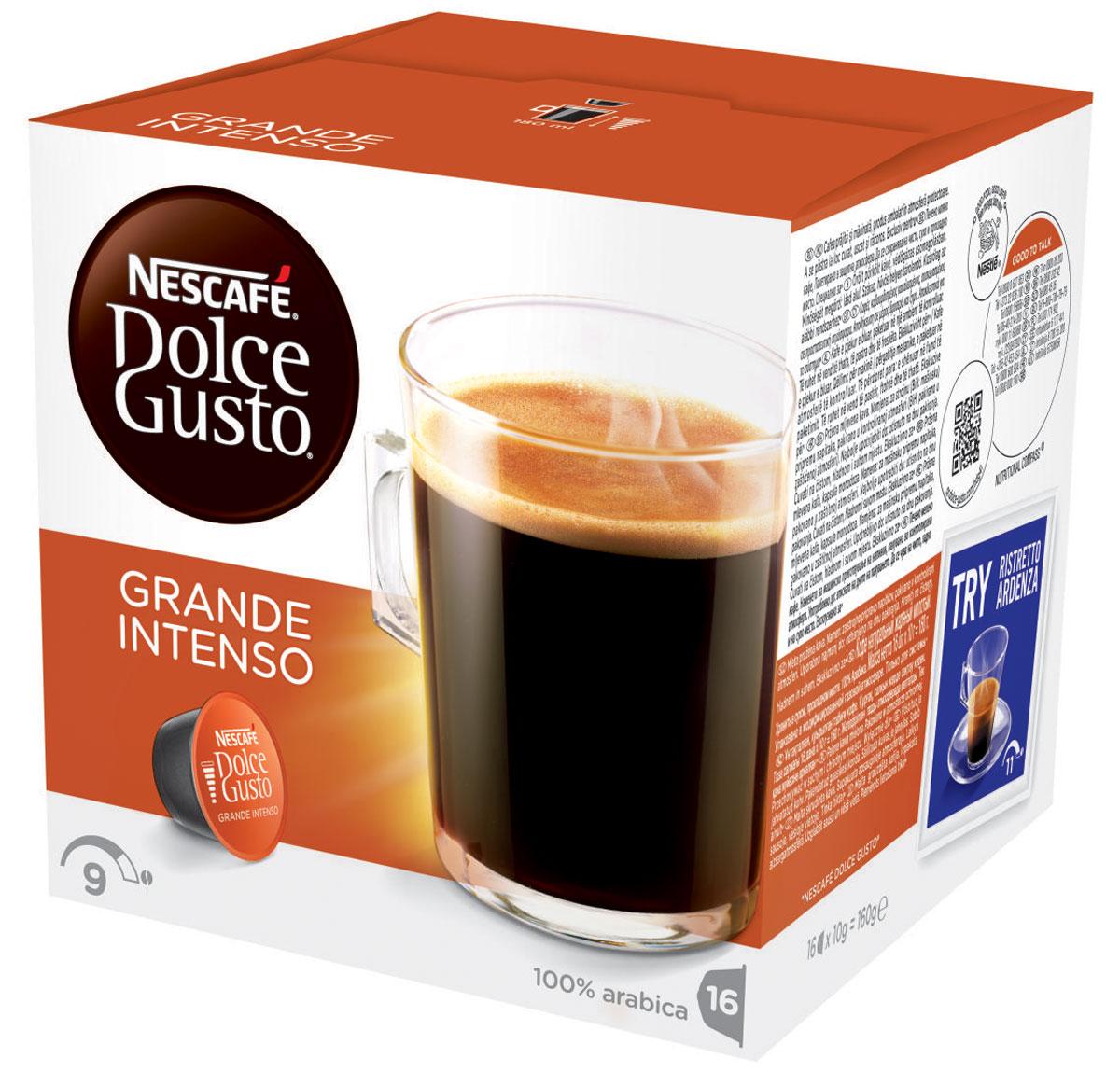 Nescafe Dolce Gusto Grande Intenso кофе в капсулах, 16 шт0120710Grande Intenso абсолютно соответствует названию – классический гранде с более насыщенной горчинкой. Приготовленный из зерен Арабики, изысканно контрастный и полноценный – этот хорошо сбалансированный, но никогда не слишком крепкий напиток создан для приготовления в кофемашине Nescafe Dolce Gusto.Слой ароматной пенки, словно последний штрих, создает простой на вид гранде со сложным вкусом. Изготовленный из 100% зерен Арабики, он великолепно подходит для завтрака, или как основной напиток для посиделок, или для спокойного времяпрепровождения в одиночестве. Будет ли это первая чашка кофе с утра или в любое время в течение дня, капсульный кофе гранде Intenso всегда бьет в цель. Нет необходимости идти в кофейню, чтобы насладиться этим великолепным вкусом.