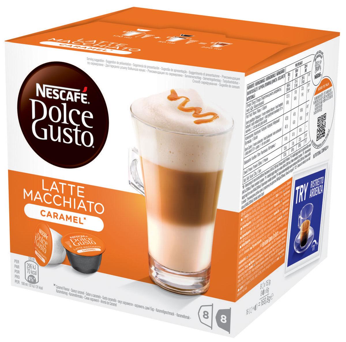 Nescafe Dolce Gusto Latte Macchiato со вкусом карамели кофе в капсулах, 16 шт12136960Nescafe Dolce Gusto Latte Macchiato со вкусом карамели - это утонченный кофейный напиток. Терпкий вкус распределяется через пропитанное карамелью молоко, создавая необычайно мягкий сладкий напиток, который мог быть создан только руками бариста.Увенчанный короной из снежной пены, этот капсульный латте имеет классические карамельные нотки, что делает его идеальным напитком для любителей сладкого кофе. Стильный вид и украшение в виде пятнышка кофе – этот латте исключительно подходит для получения удовольствия в любое время дня. Его легко приготовить, сохранив качество напитка, аналогичное кофейне.В состав входят: 8 кофейных капсул8 молочных капсул