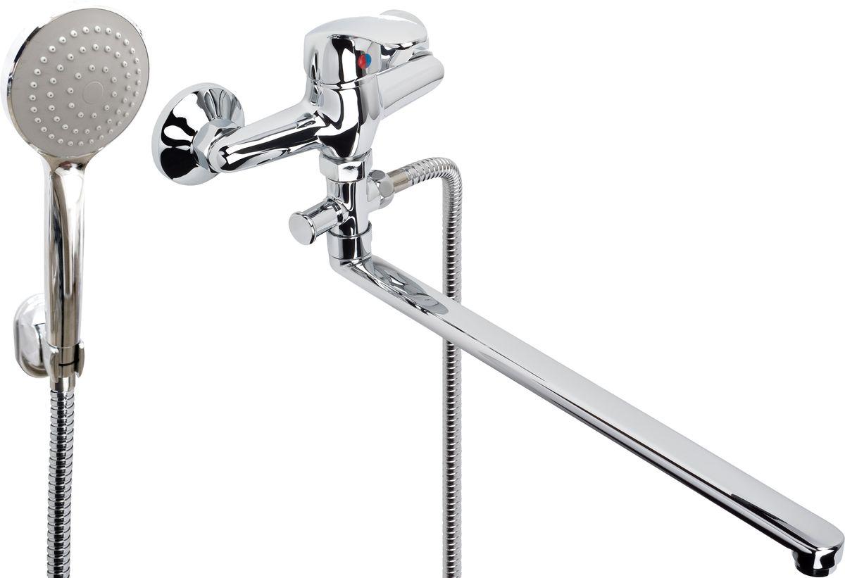 Argo смеситель для ванны и умывальника Oksa, d-35, штоковый, L образный излив 375 мм  argo смеситель для кухни oksa d 35