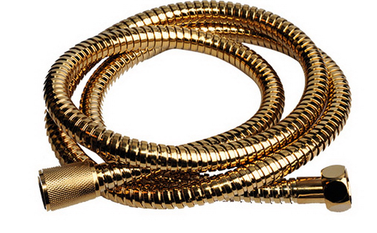 Шланг для душа Argo Eur, цвет: золотой, 1/2, 150 смBL505Универсальный гибкий шланг для душа Argo Eur с внешней оболочкой изнержавеющей стали, сочетает в себе отличные эксплуатационные характеристикии приятный дизайн. Прочный и надежный шланг эргономичен и прост в монтаже, удобен виспользовании. Длина: 150 см. Выходы шлага: 1/2. Тип фитинга: гайка - конус с насечкой.Тип соединения оплетки: двойной замок.