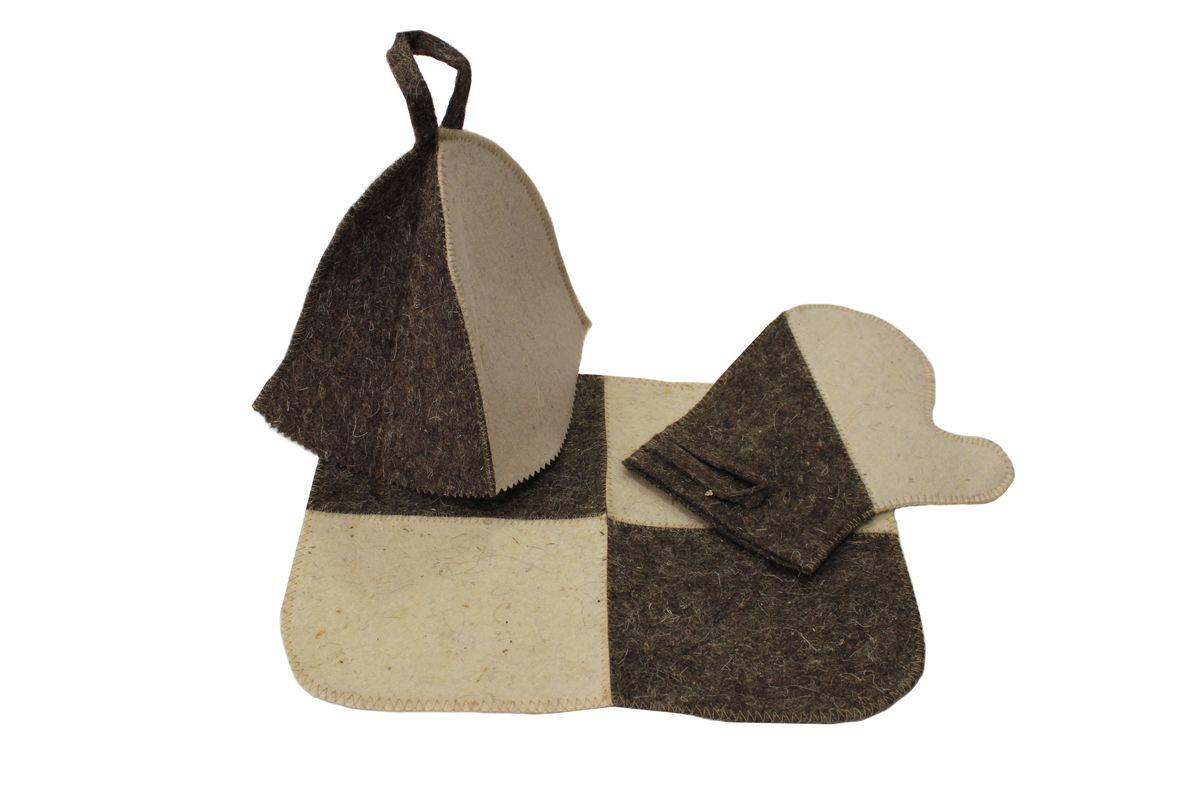 Набор для бани и сауны Proffi Home, 3 предмета391602Оригинальный набор для бани Proffi Home включает в себя шапку, рукавицу и коврик. Шапка, рукавица и коврик - это незаменимые аксессуары для любителей попариться в русской бане и для тех, кто предпочитает сухой жар финской бани. Шапка защитит волосы от сухости и ломкости, голову от перегрева и предотвратит появление головокружения. Рукавица обезопасит ваши руки от появления ожогов, а коврик - от высоких температур при контакте с горячей лавкой в парилке. На изделиях имеются петельки, с помощью которых их можно повесить на крючок в предбаннике. Такой набор станет отличным подарком для любителей отдыха в бане или сауне.