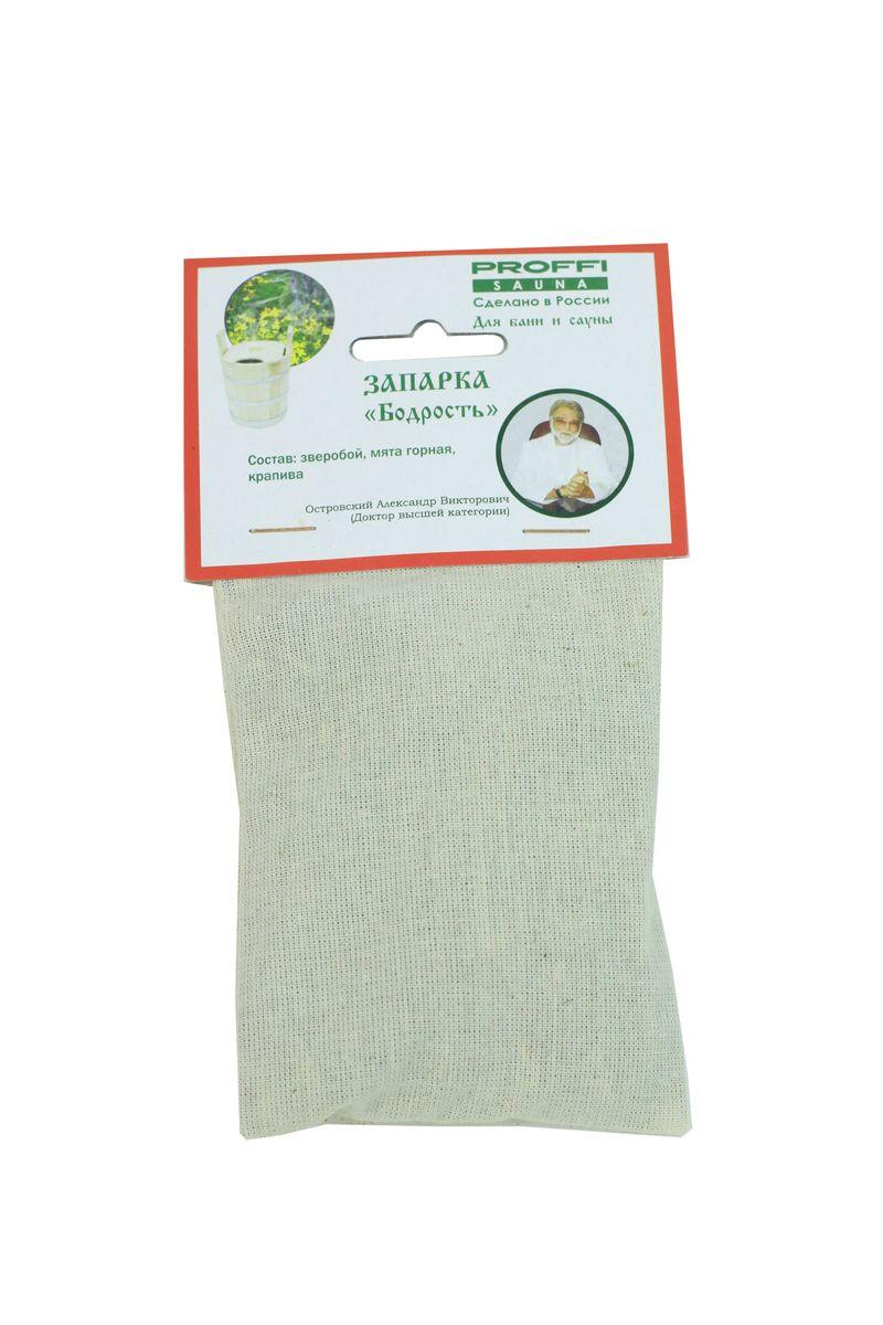 Запарка для бани и сауны Proffi Бодрость106-026Запарка для бани и сауны Proffi Бодрость состоит из трех видов трав: мяты горной, зверобоя, крапивы.Мята обладает дезинфицирующим, стимулирующим и тонизирующим действием. Зверобой борется с заболеваниями органов дыхания, исцеляет подагру, снимает мышечные боли, обладает спазмолитическим действием и очищает все клетки организма.Крапива поможет людям, страдающим радикулитом, ревматизмом, подагрой или же просто поможет при болях в спине и суставах.Русская баня и сауна являются отличным средством для профилактики различных заболеваний. Под влиянием тепла происходит усиление кровообращения, дыхания, обмена веществ, из организма выводятся шлаки и токсины. Размер мешочка: 9 х 9 х 2 см.