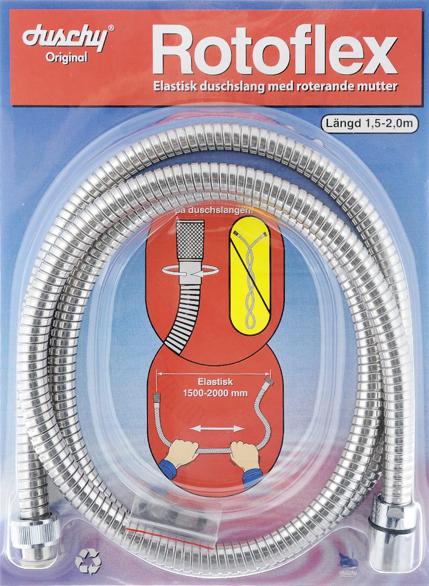 Душевой шланг Duschy Rotoflex. Antitwis, длина 1,5 - 2 м20021Растягивающийся шланг Duschy Rotoflex. Antitwis выполнен из высококачественного металла длиной 150 - 200 см. Он оснащен конической хромированной гайкой для лейки и системой, которая позволяет ему никогда не перекручиваться. Его можно использовать для замены неисправного элемента.