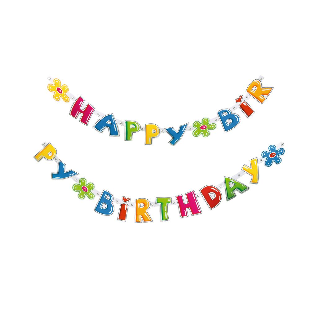 Susy Card Гирлянда детская Happy Birthday 1,6 м