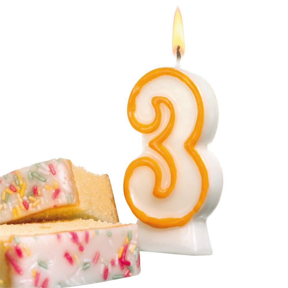 Susy Card Свеча-цифра для торта 3 года цвет бело-зеленый -  Свечи для торта