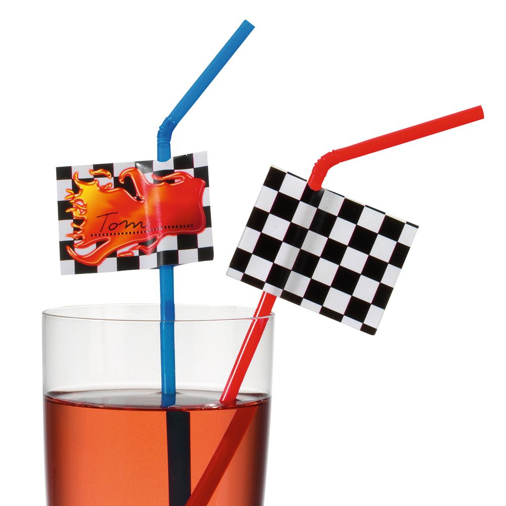Susy Card Трубочка для коктейля Гонки 10 шт -  Сервировка праздничного стола