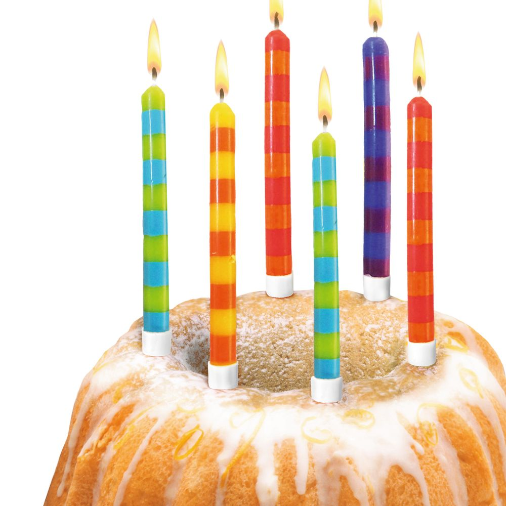 Susy Card Свечи для торта детские в полоску 12 шт -  Свечи для торта
