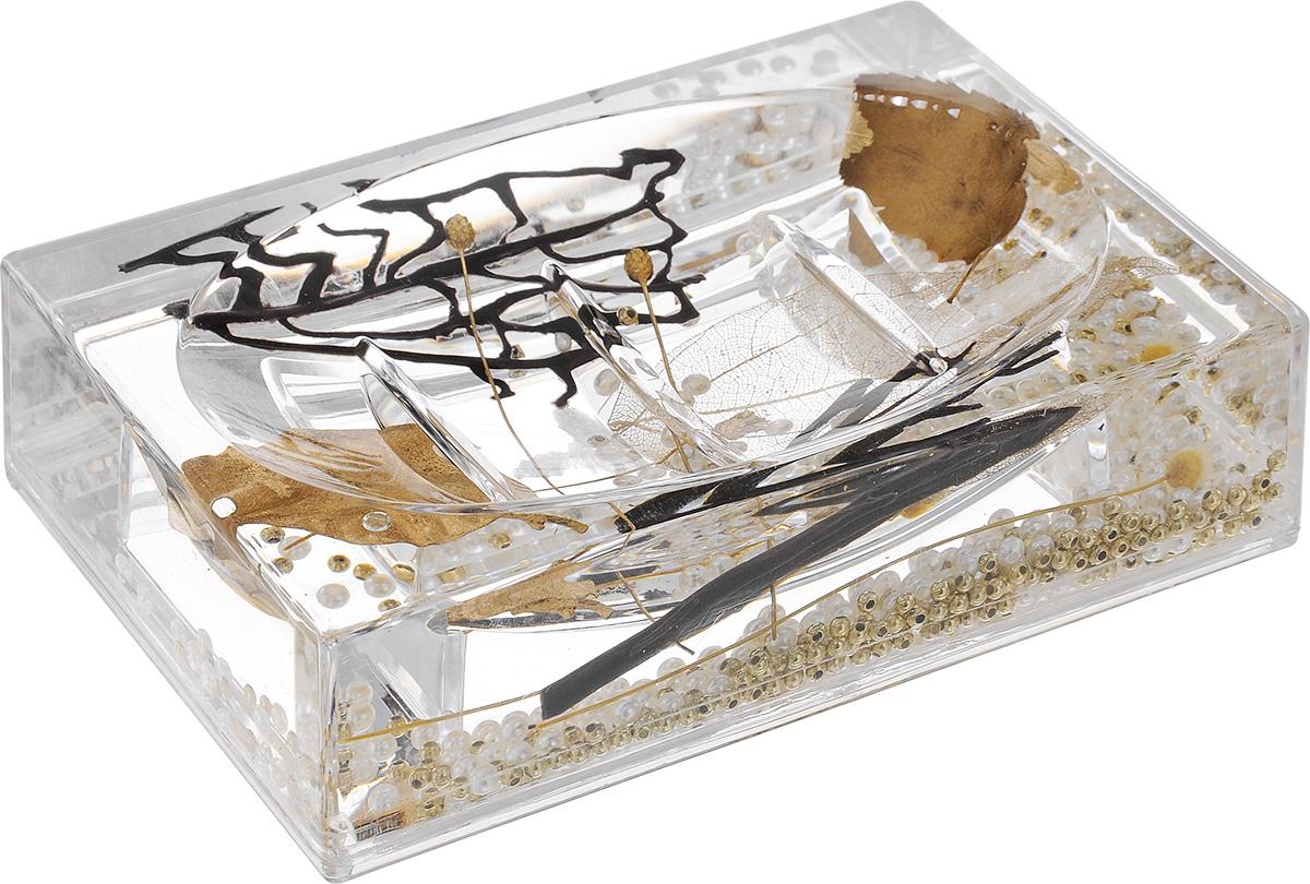 Мыльница Vanstore Aurum, 13,5 х 9 х 3 см1635PОригинальная мыльница Vanstore Aurum, изготовленная из прозрачного пластика, отлично подойдет для вашей ванной комнаты. Изделие имеет двойные стенки, между которыми находится прозрачный гелевый наполнитель с декоративными элементами.Такая мыльница создаст особую атмосферу уюта и максимального комфорта в ванной.Размер мыльницы: 13,5 х 9 х 3 см.