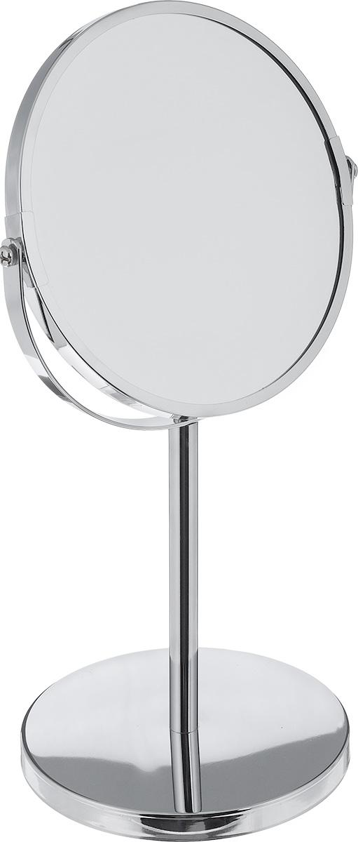 Зеркало косметическое Vanstore, настольное, двустороннее507-90Настольное косметическое зеркало Vanstore идеально подходит для нанесения макияжа и совершения различных косметических процедур. Зеркало с одной стороны не дает увеличение (реальное изображение), а со второй стороны идет 3-х кратное увеличение. Изделие устанавливается на специальную подставку.