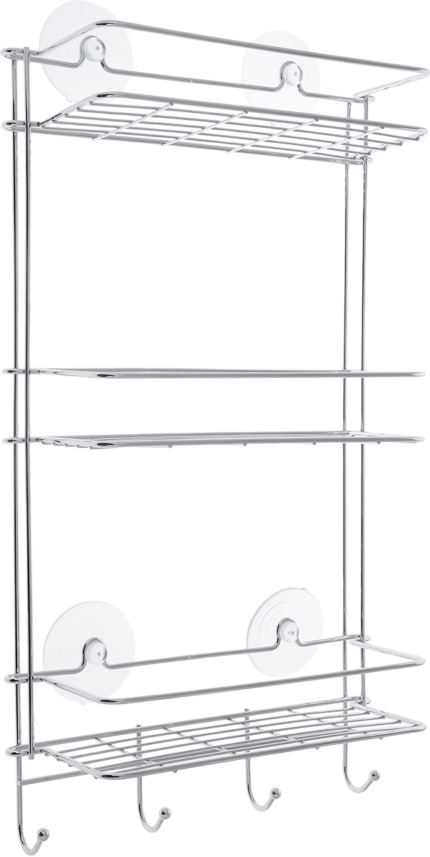 Полка прямая Vanstore Neo, трехъярусная, 28 х 11 х 52 смS03301004Удобная и практичная прямая полка Vanstore Neo выполнена из хромированной стали. Она крепится при помощи четырех присосок (входят в комплект).Полка сэкономит место на вашей кухне или в ванной комнате. Вы можете расположить на ней ваши шампуни, гели для душа и различные крема всегда будут под рукой. Под нижним ярусом имеются полочка и четыре крючка, на которые можно вешать полотенца.Благодаря компактным размерам полка впишется в интерьер вашего дома и позволит вам удобно и практично хранить предметы домашнего обихода.Размер: 26 х 11,5 х 54 см.