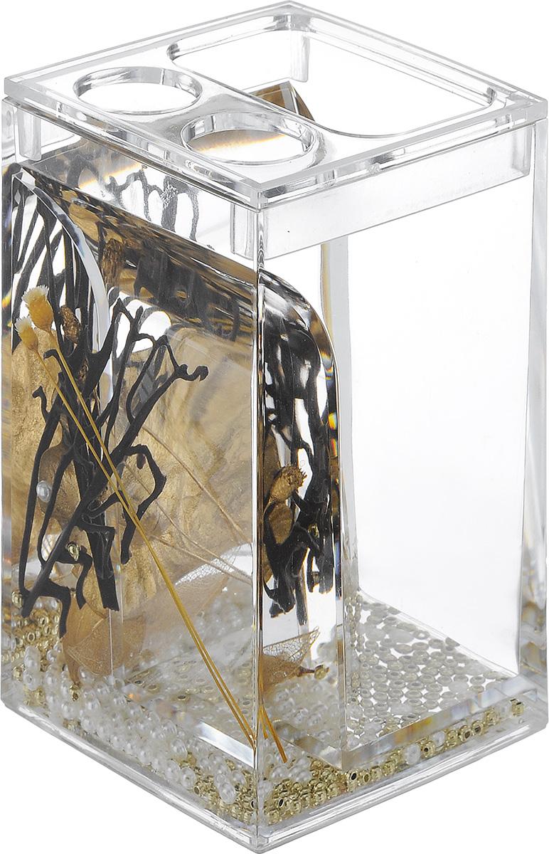 Стакан для зубных щеток Vanstore Aurum, высота 12,5 см68/5/3Оригинальный стакан для зубных щеток Vanstore Aurum, изготовленный из пластика, отлично подойдет для вашей ванной комнаты. Изделие имеет двойные стенки, между которыми находится прозрачный гелевый наполнитель с декоративными элементами.Стильный дизайн изделия притягивает взгляд и прекрасно подойдет к интерьеру ванной комнаты.Размер стакана: 6,5 х 6,5 х 12,5 см.